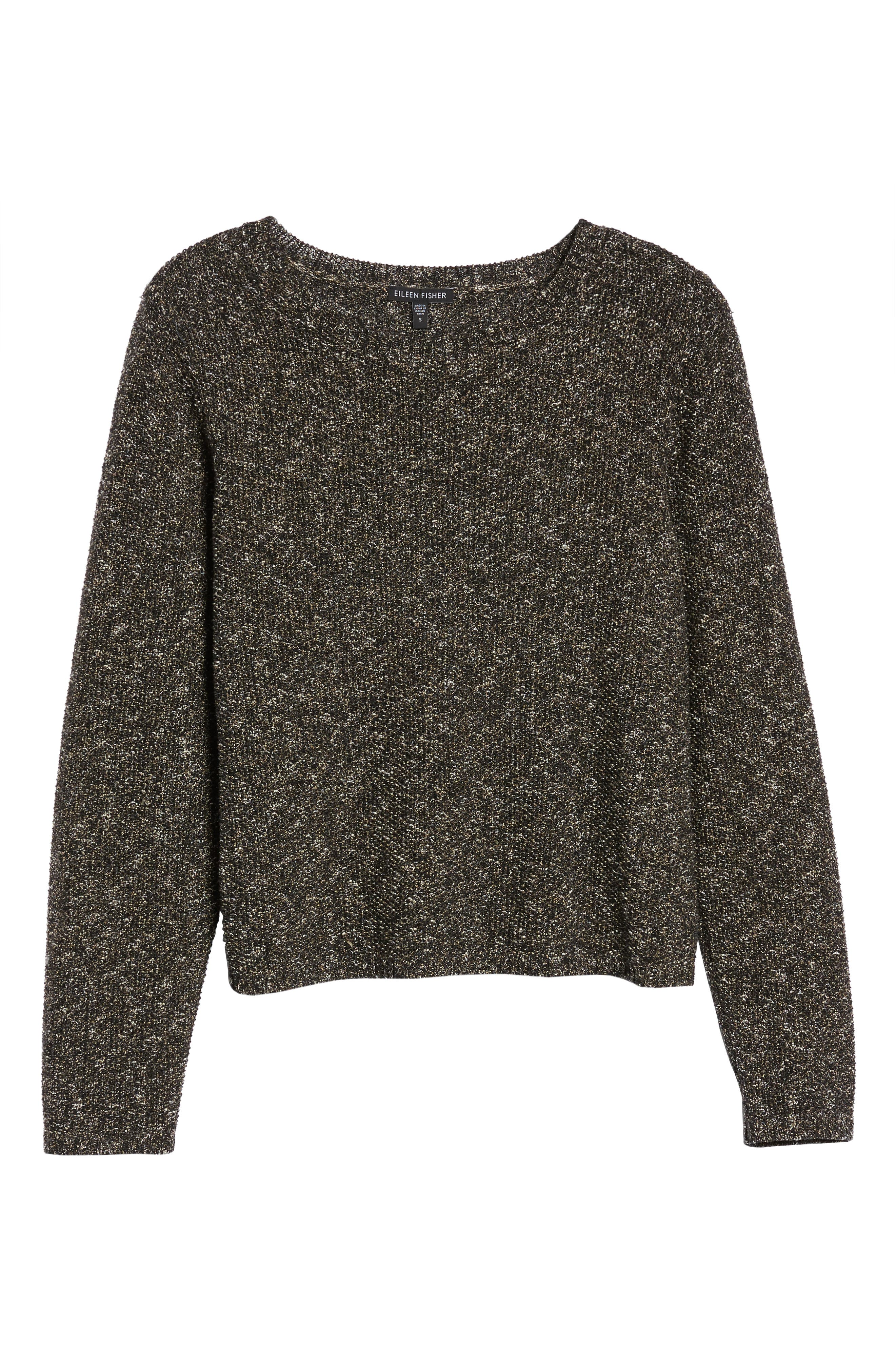 Tweed Knit Sweater,                             Alternate thumbnail 6, color,                             Black
