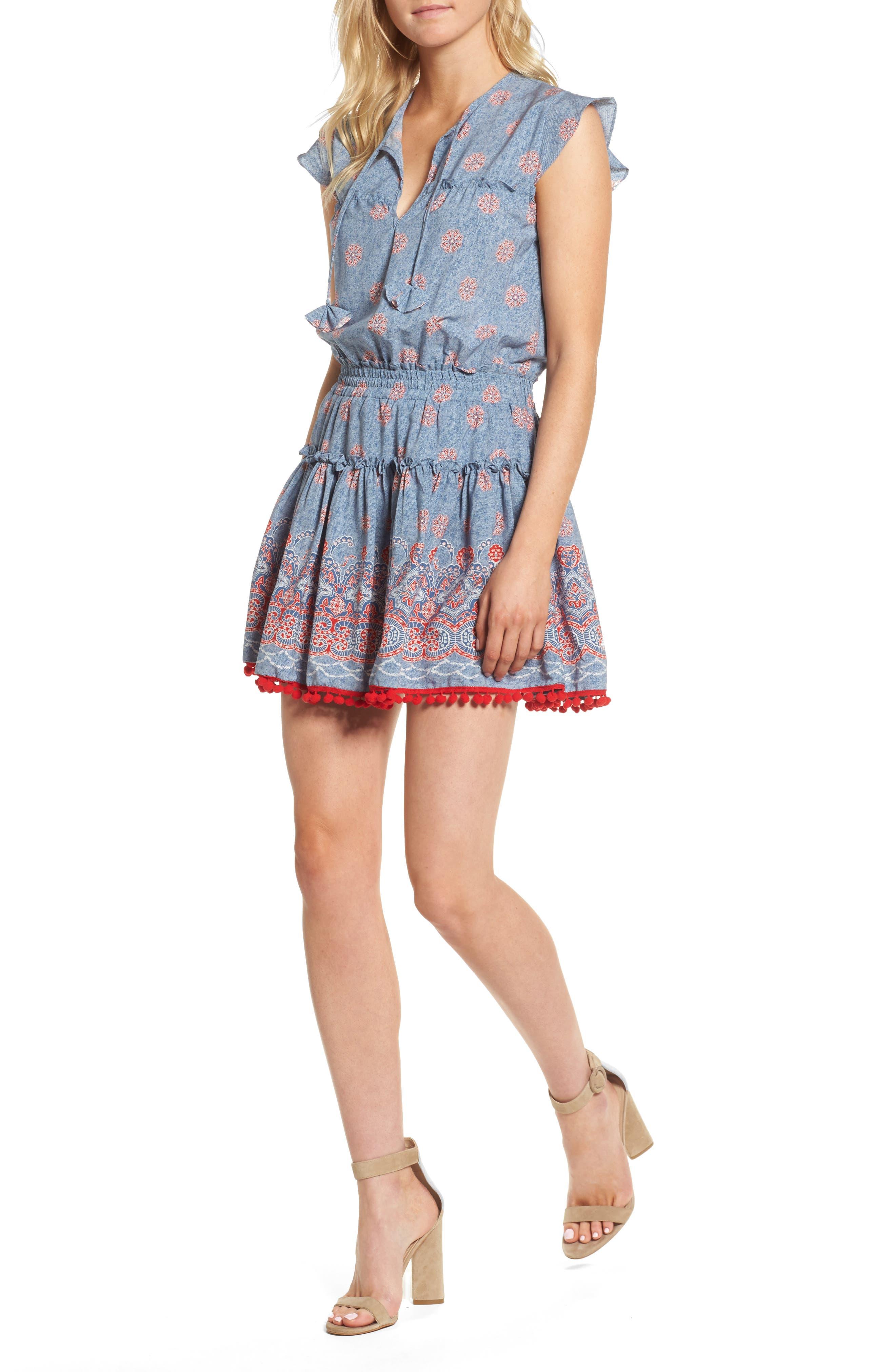 Tatiana Minidress,                         Main,                         color, Blue/ Red Multi