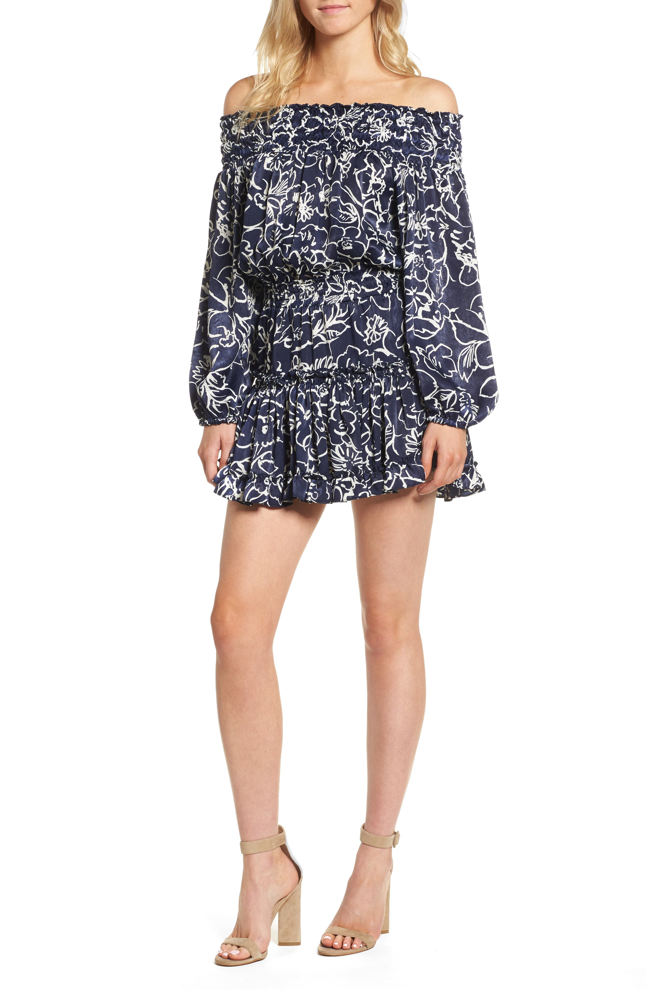Darla Off the Shoulder Minidress,                         Main,                         color, Navy/ White