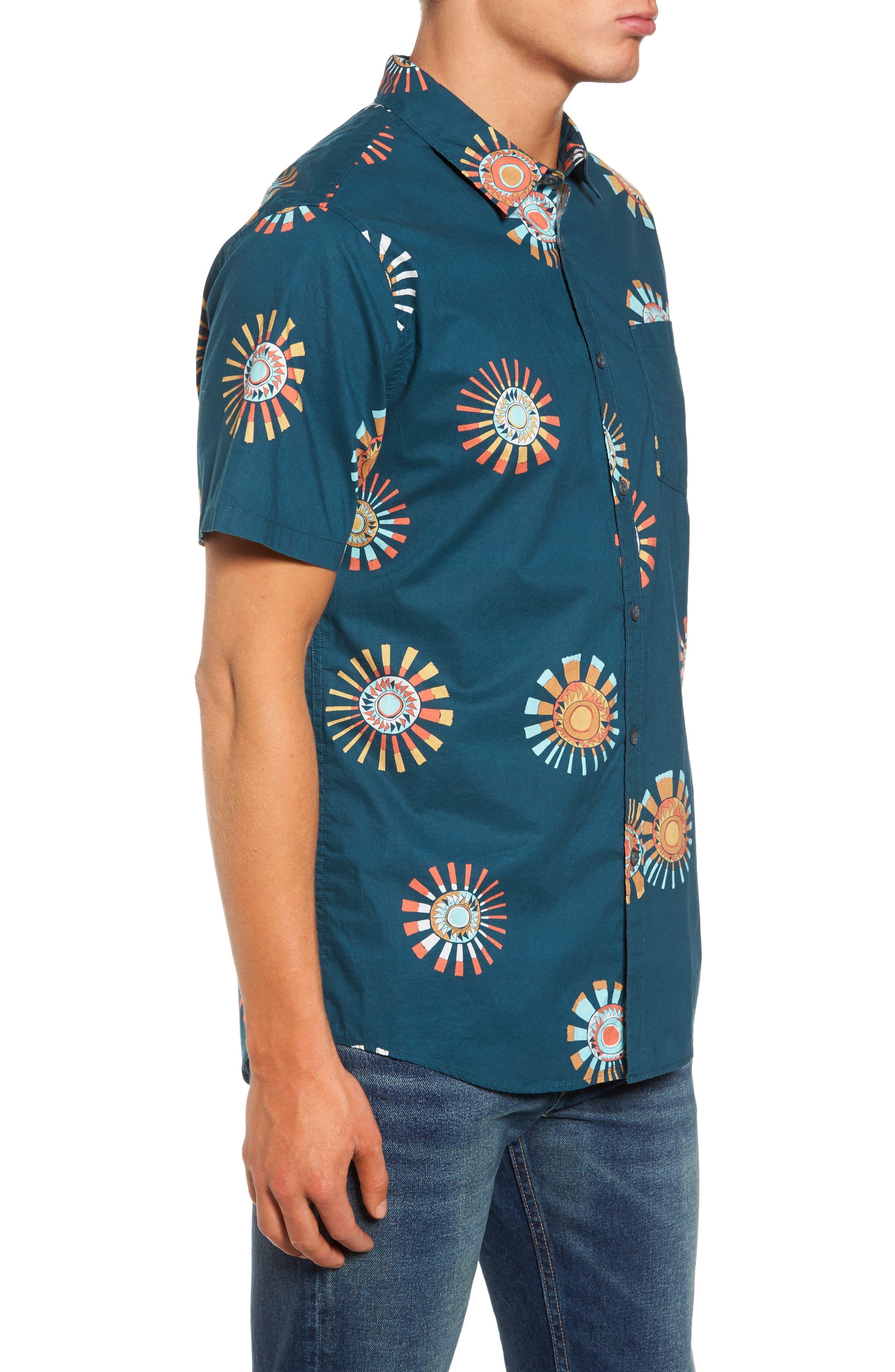 Sunday Floral Woven Shirt,                             Alternate thumbnail 3, color,                             Navy