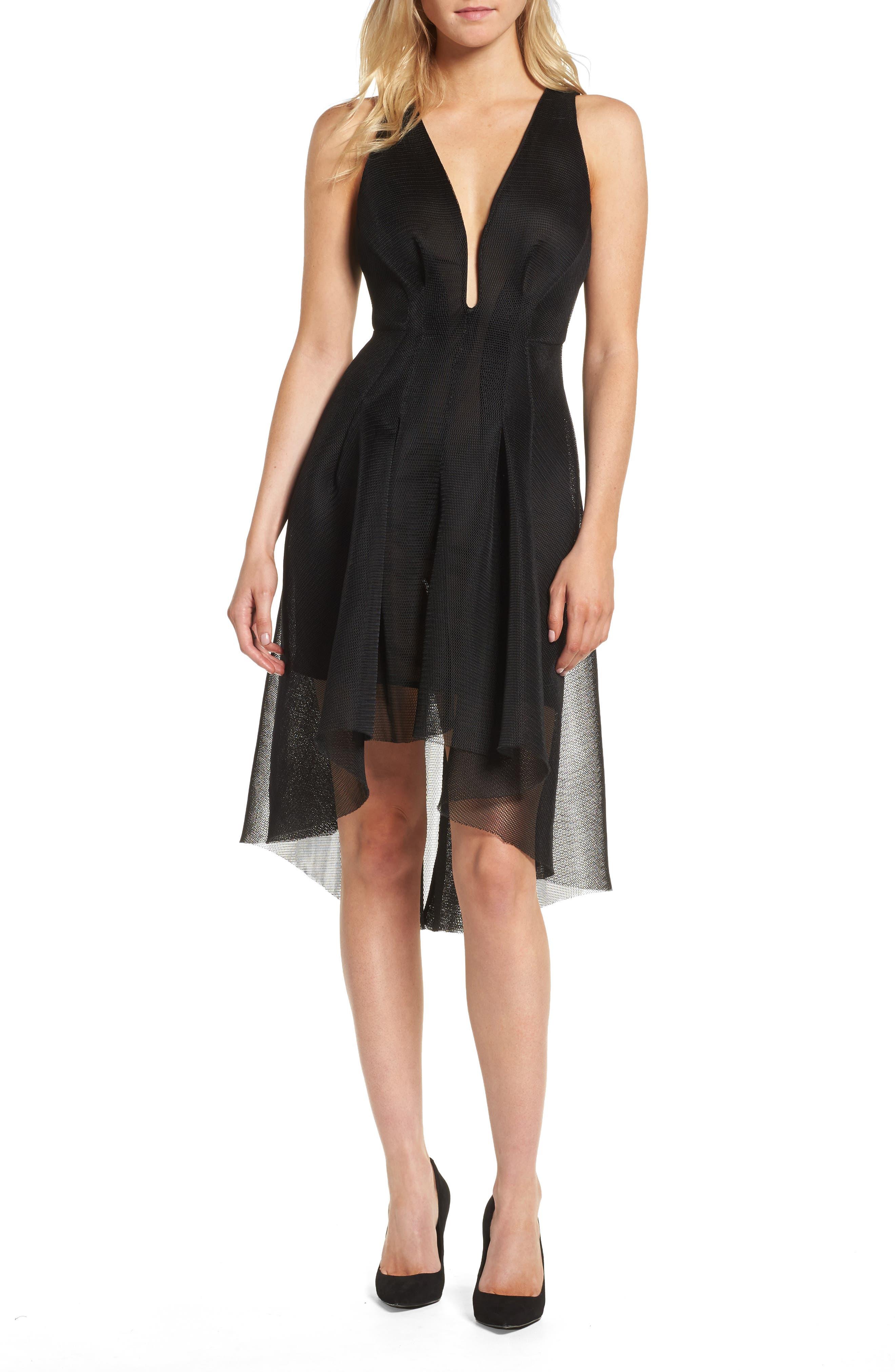 Jewel Fit & Flare Dress,                             Main thumbnail 1, color,                             Black