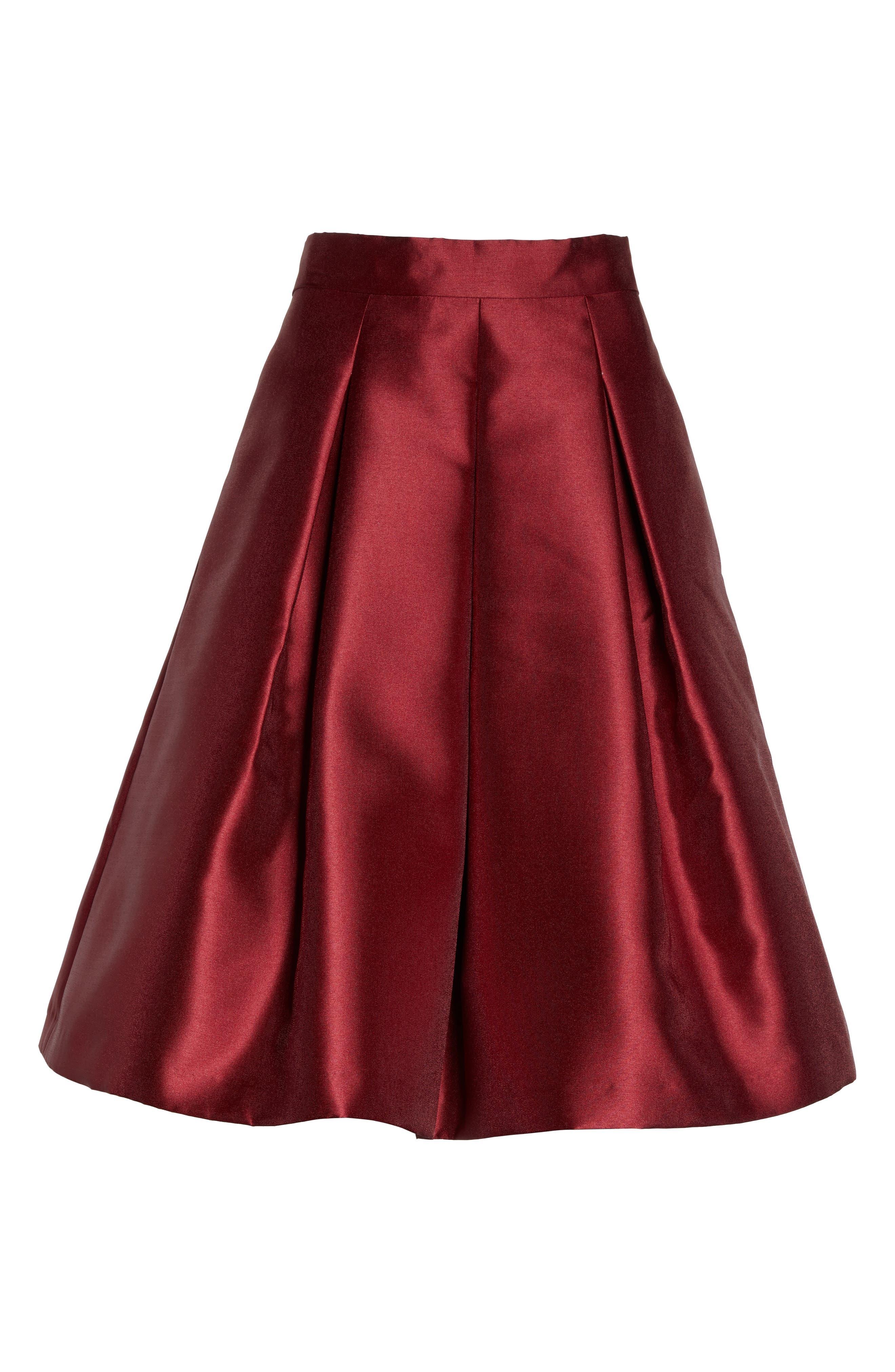 Pleated Mikado Skirt,                             Alternate thumbnail 7, color,                             Red