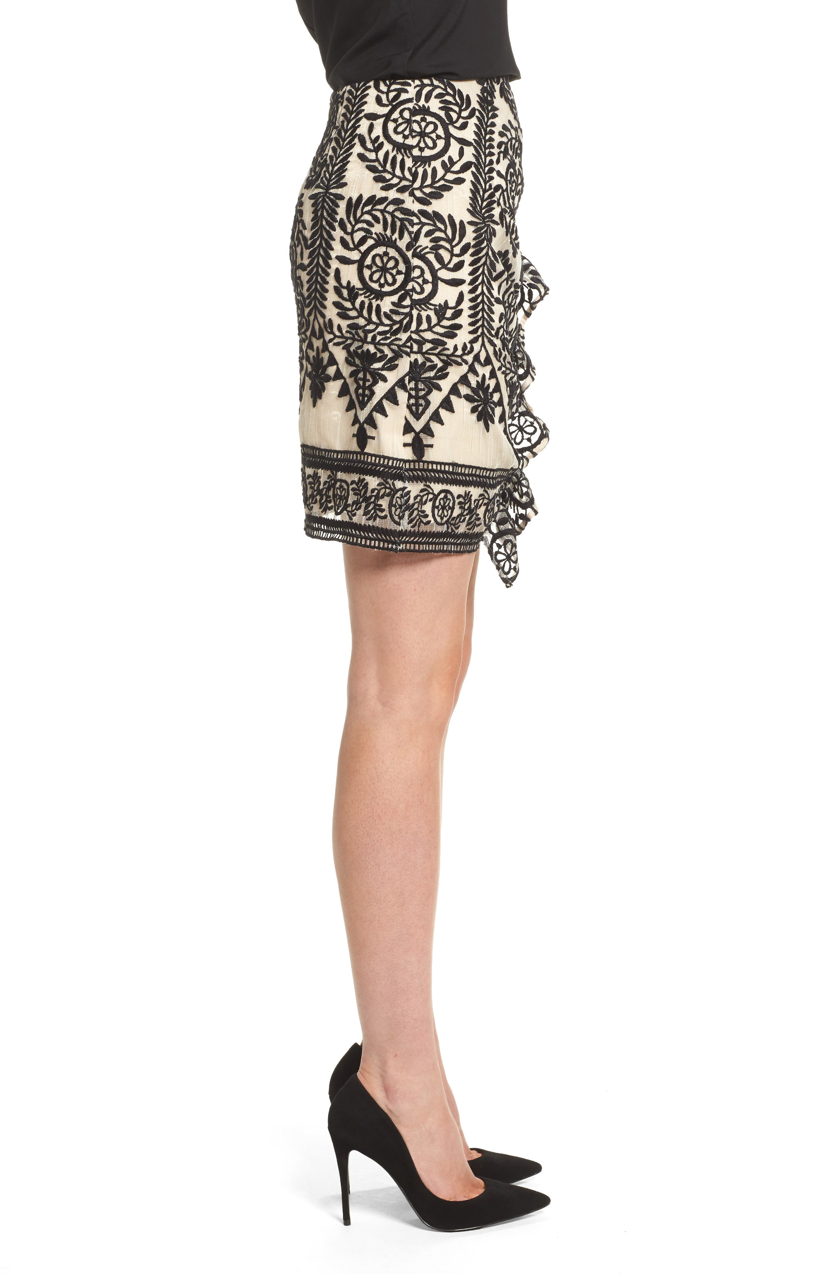 Soiree Ruffle Miniskirt,                             Alternate thumbnail 4, color,                             Black