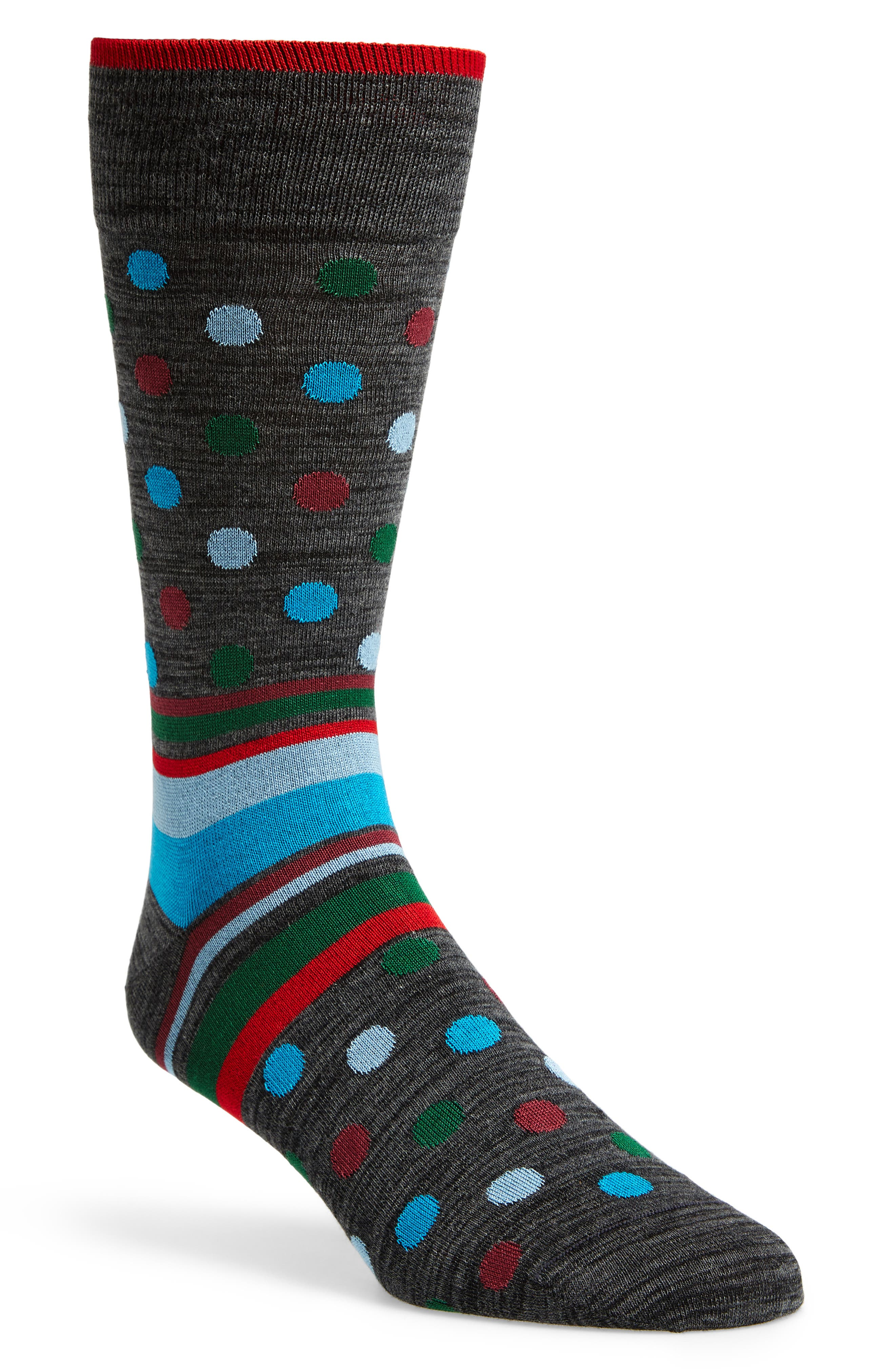 Dot & Stripe Socks,                         Main,                         color, Charcoal