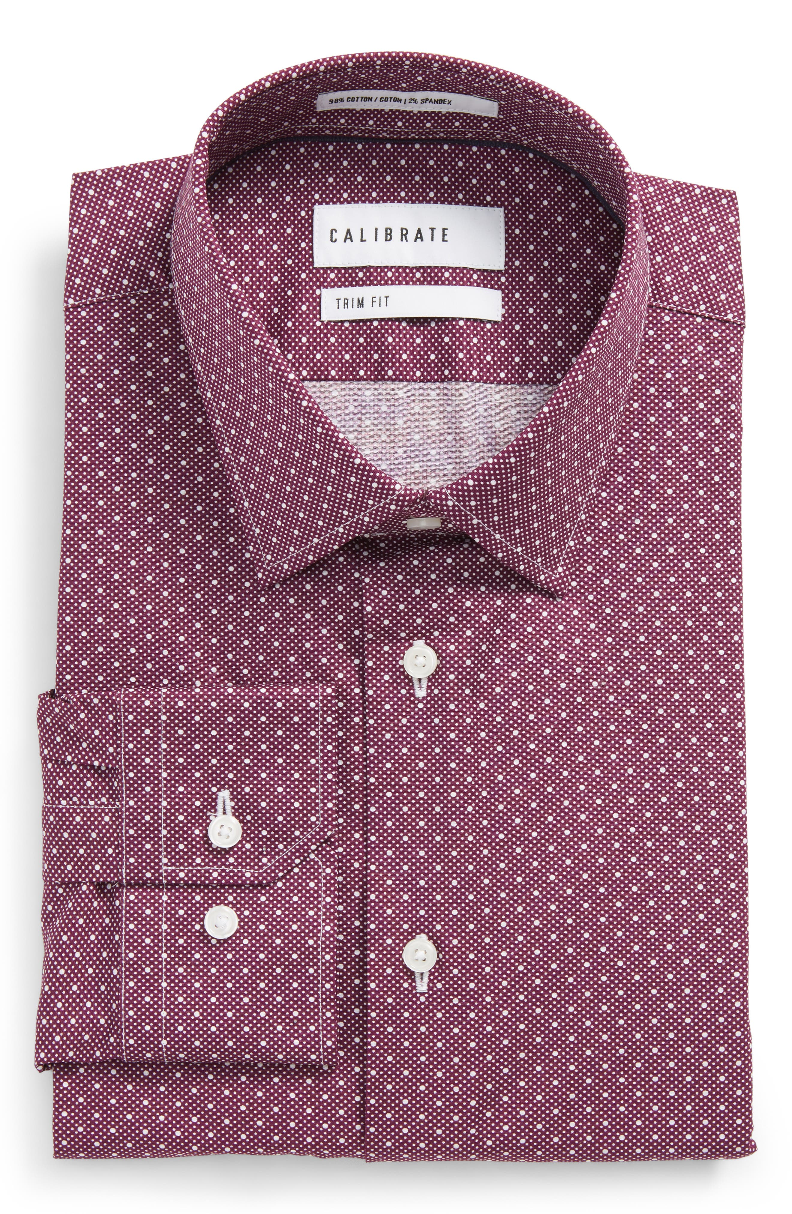 Trim Fit Stretch Dot Dress Shirt,                         Main,                         color, Purple Dark