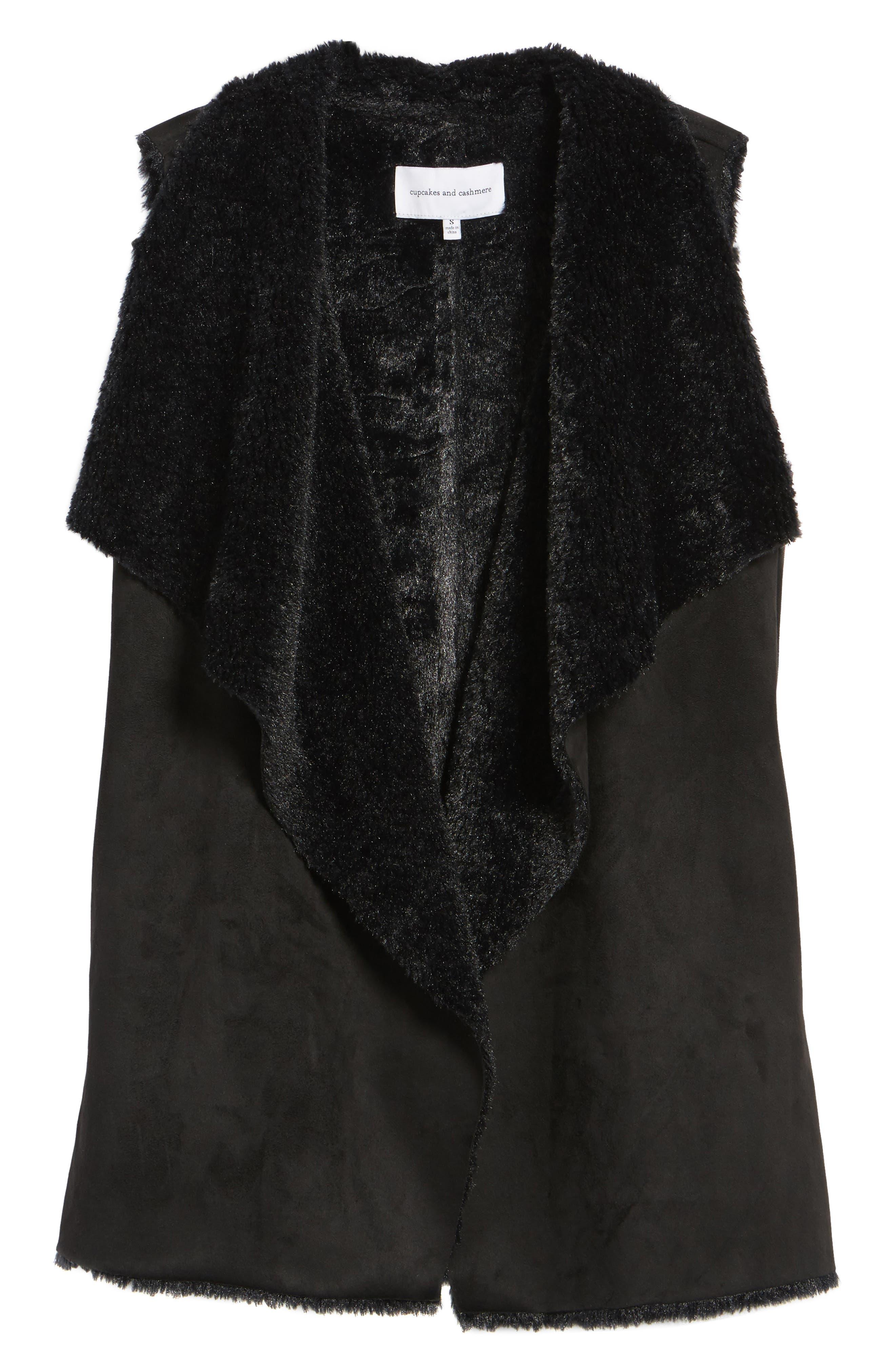 Avalonia Faux Shearling Vest,                             Alternate thumbnail 6, color,                             Black