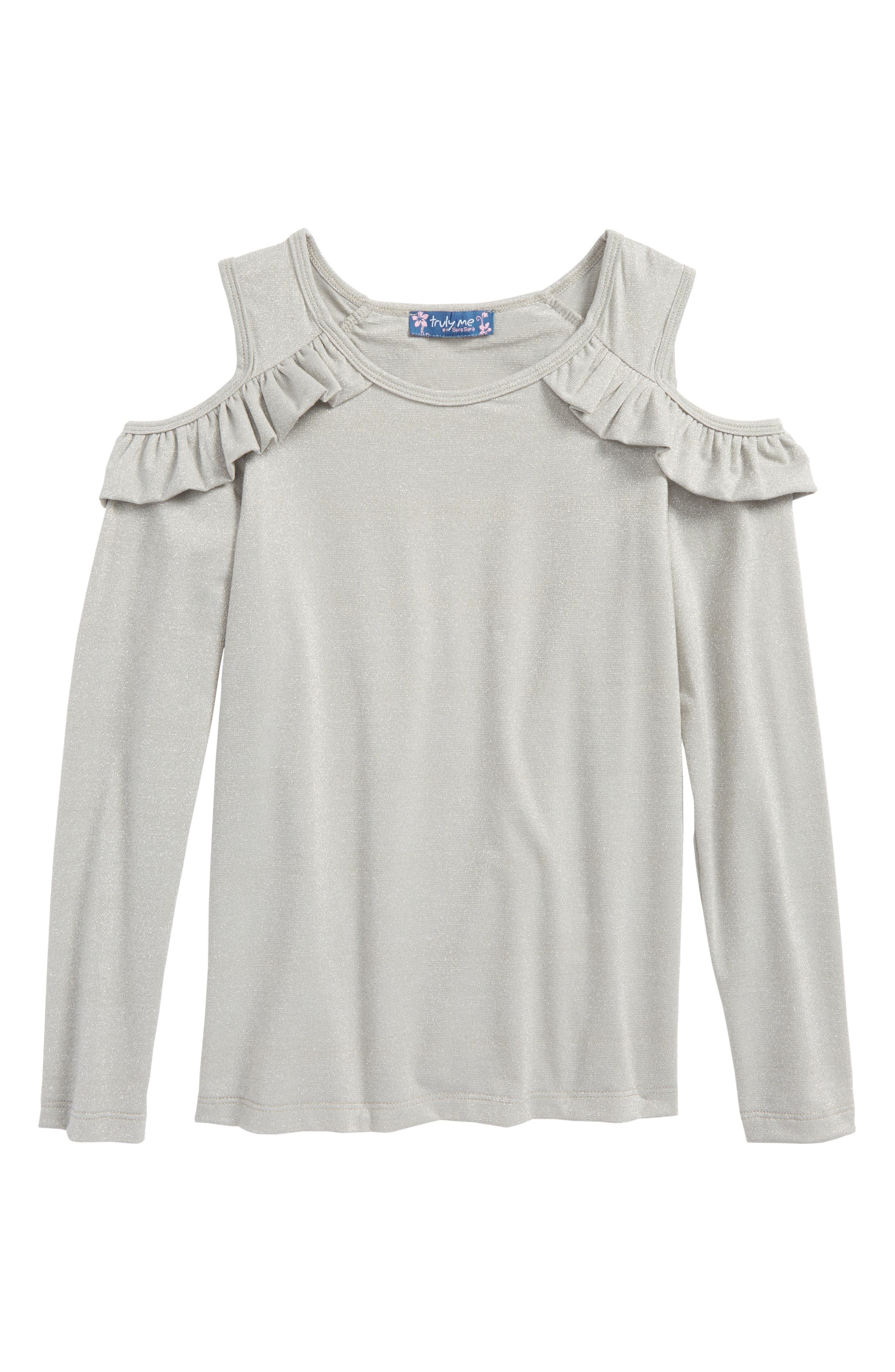 Cold Shoulder Top,                         Main,                         color, Silver