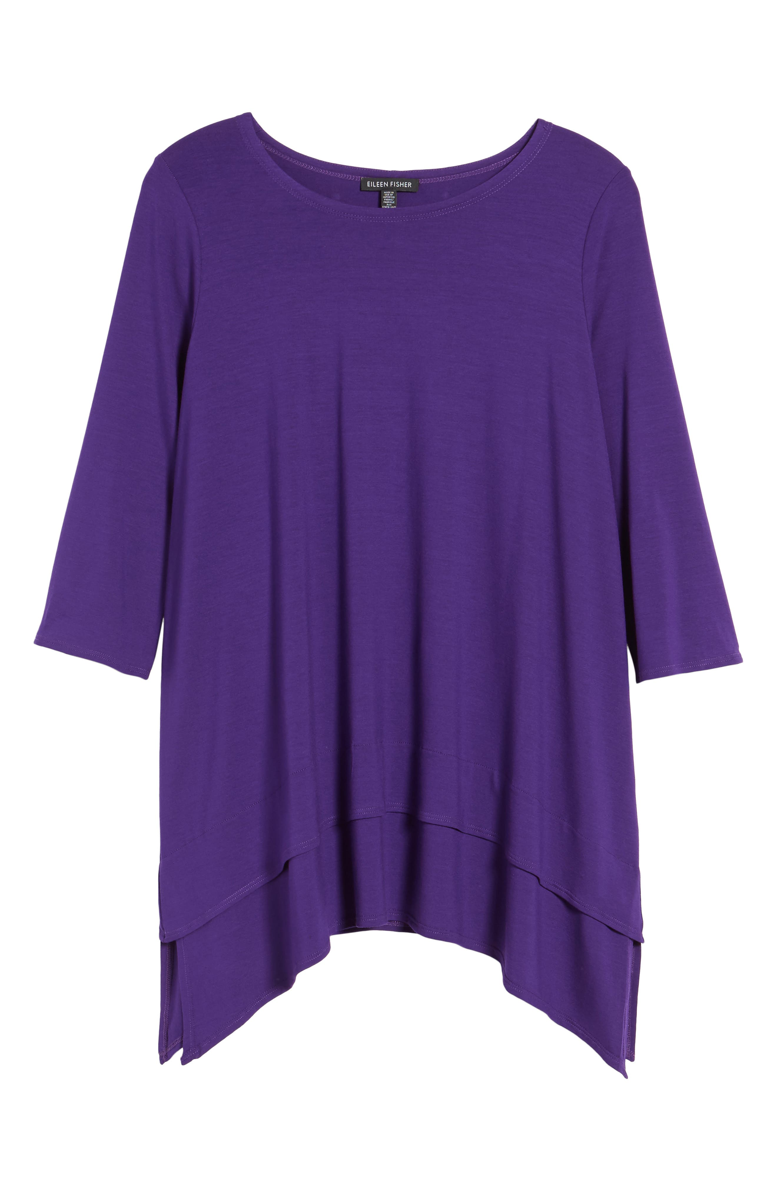 Tiered Handkerchief Hem Tunic,                             Alternate thumbnail 6, color,                             Ultraviolet