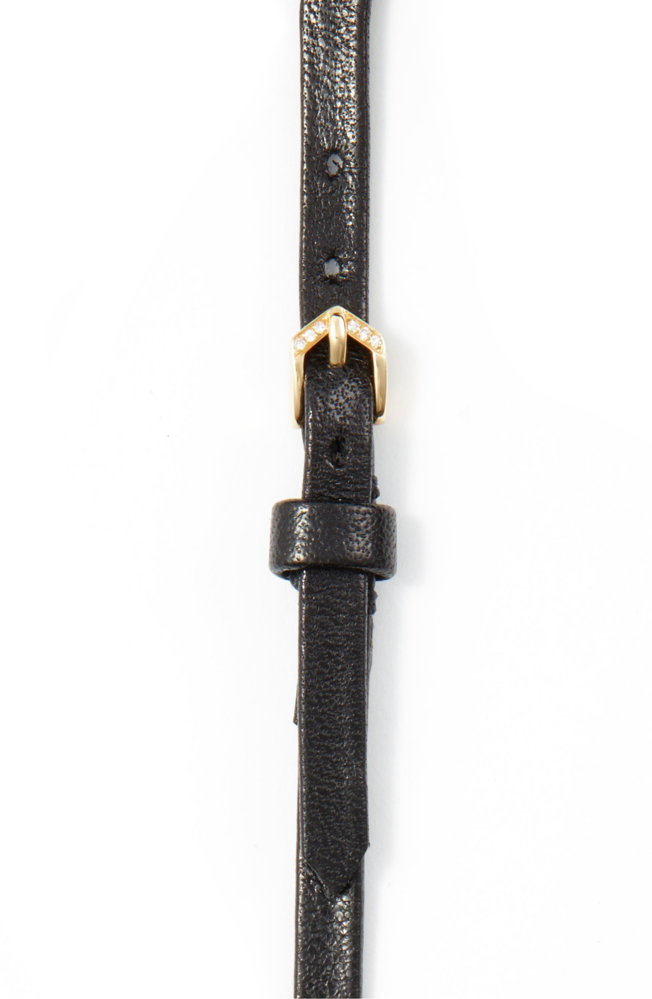 Alternate Image 3  - EF COLLECTION Mini Diamond Trio Leather Choker