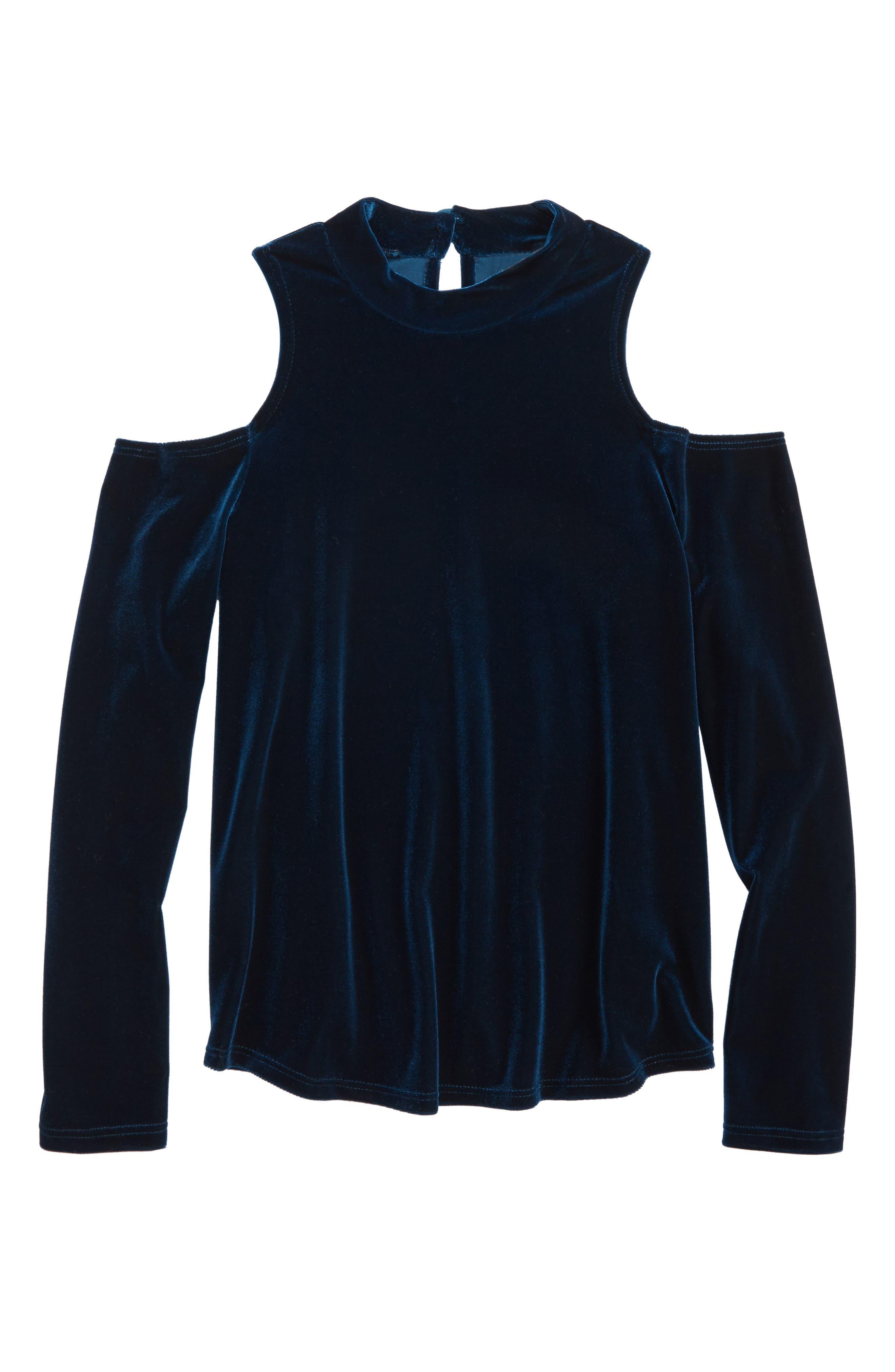 Bardot Junior Velvet Cold Shoulder Top,                         Main,                         color, Teal