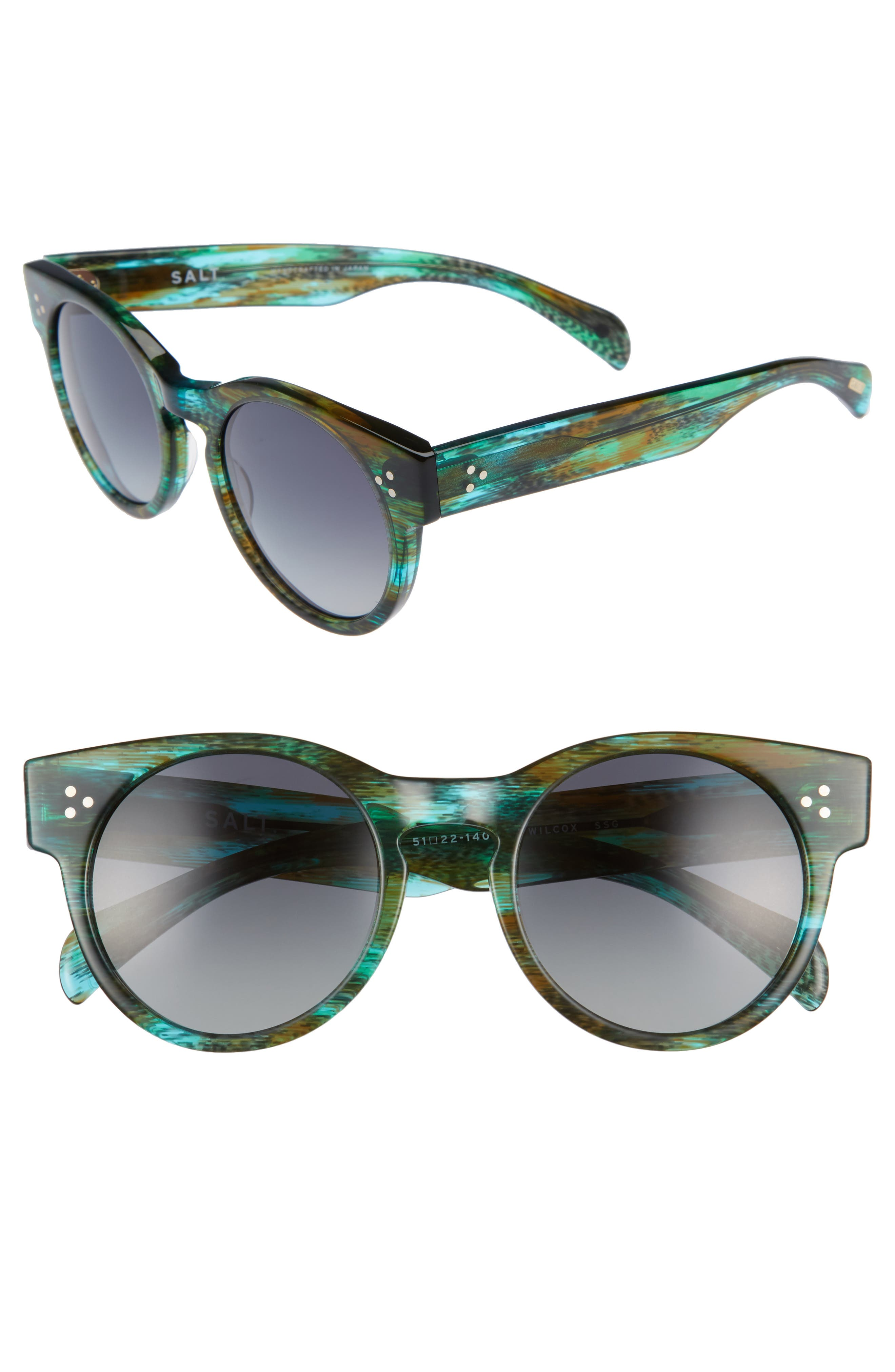 Wilcox 51mm Polarized Bold Round Sunglasses,                         Main,                         color, Sandy Sea Green