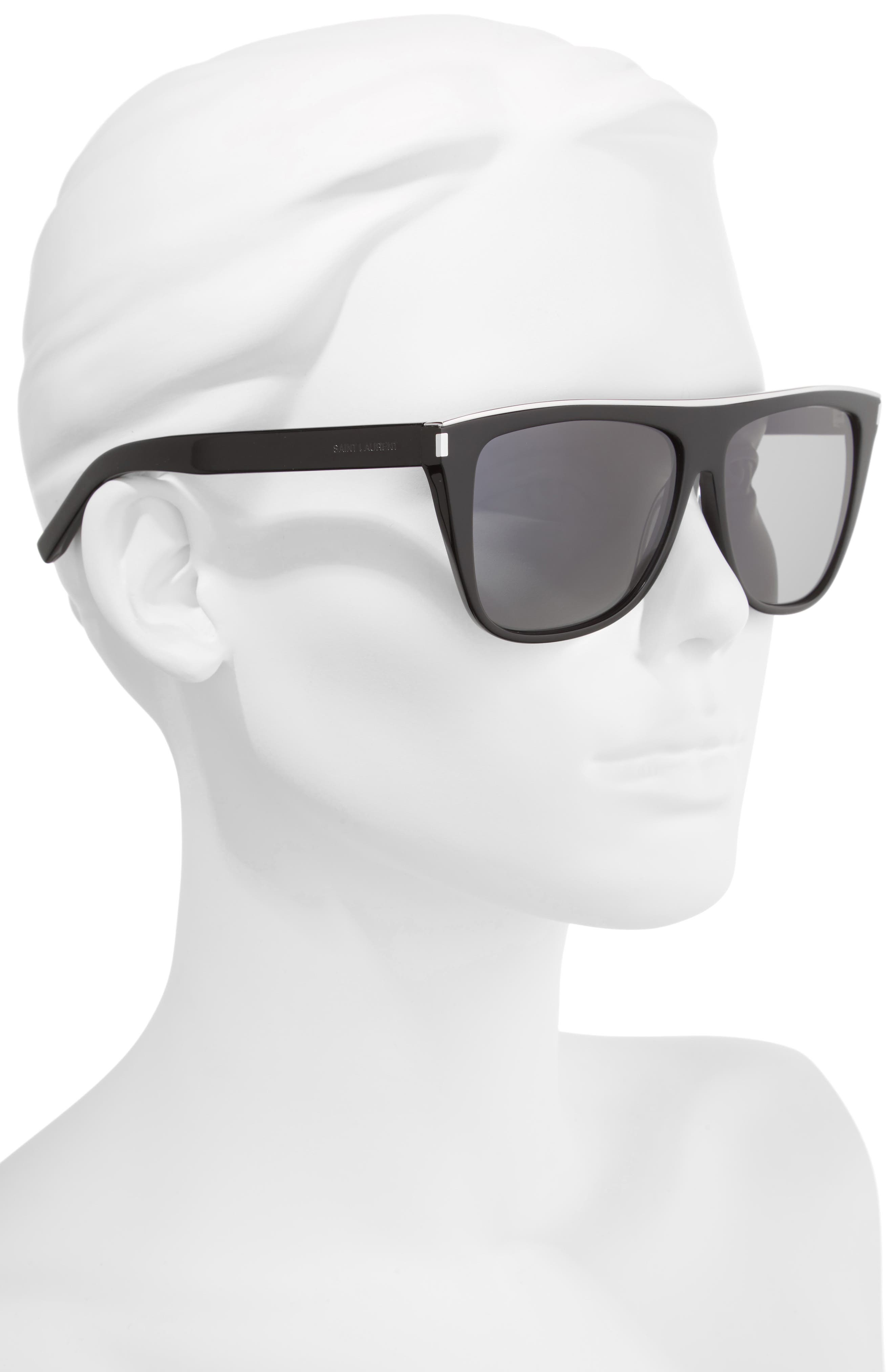 Combi 59mm Flat Top Sunglasses,                             Alternate thumbnail 2, color,                             Black