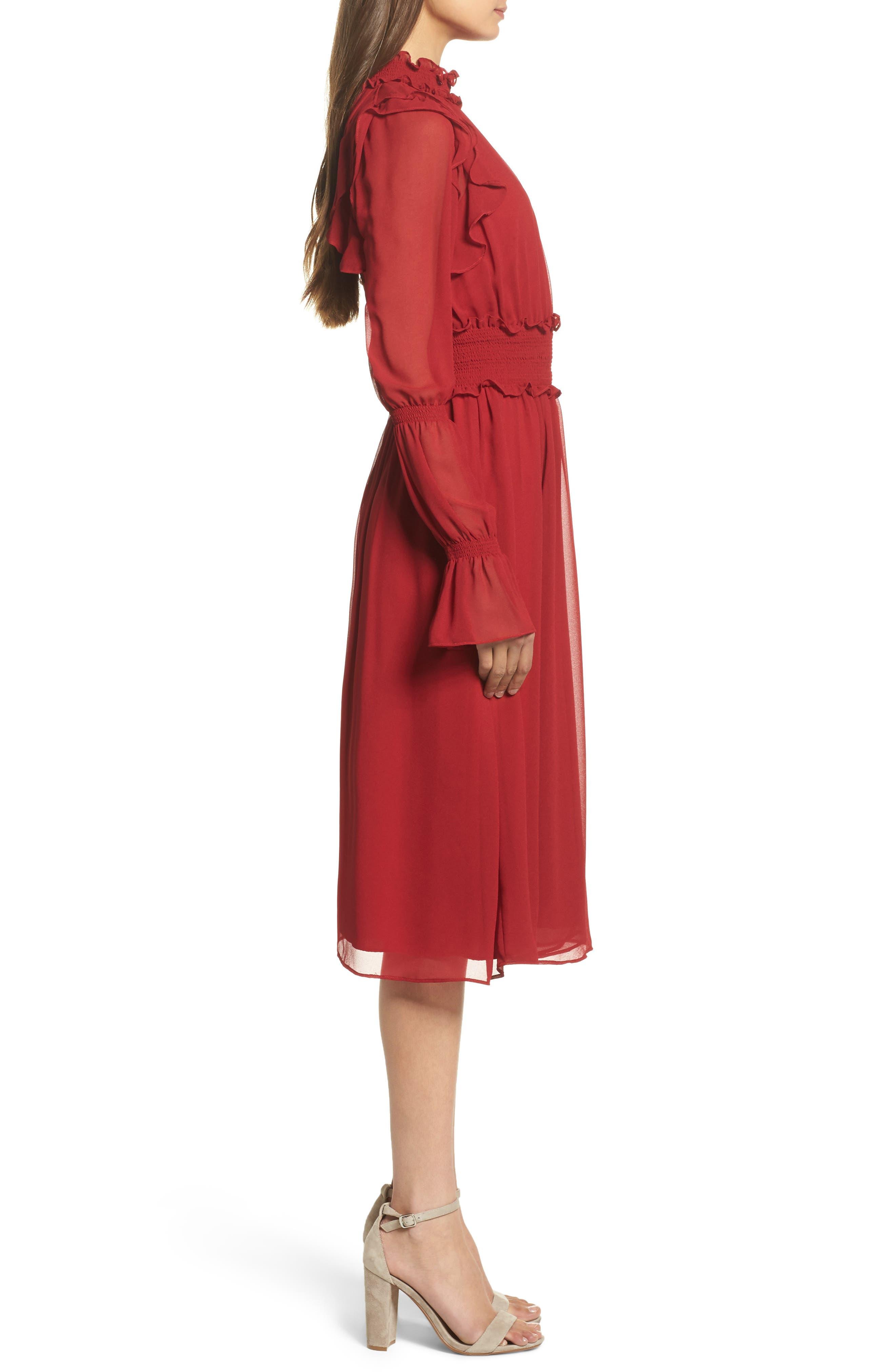 Ruffle Midi Dress,                             Alternate thumbnail 3, color,                             Red Jester