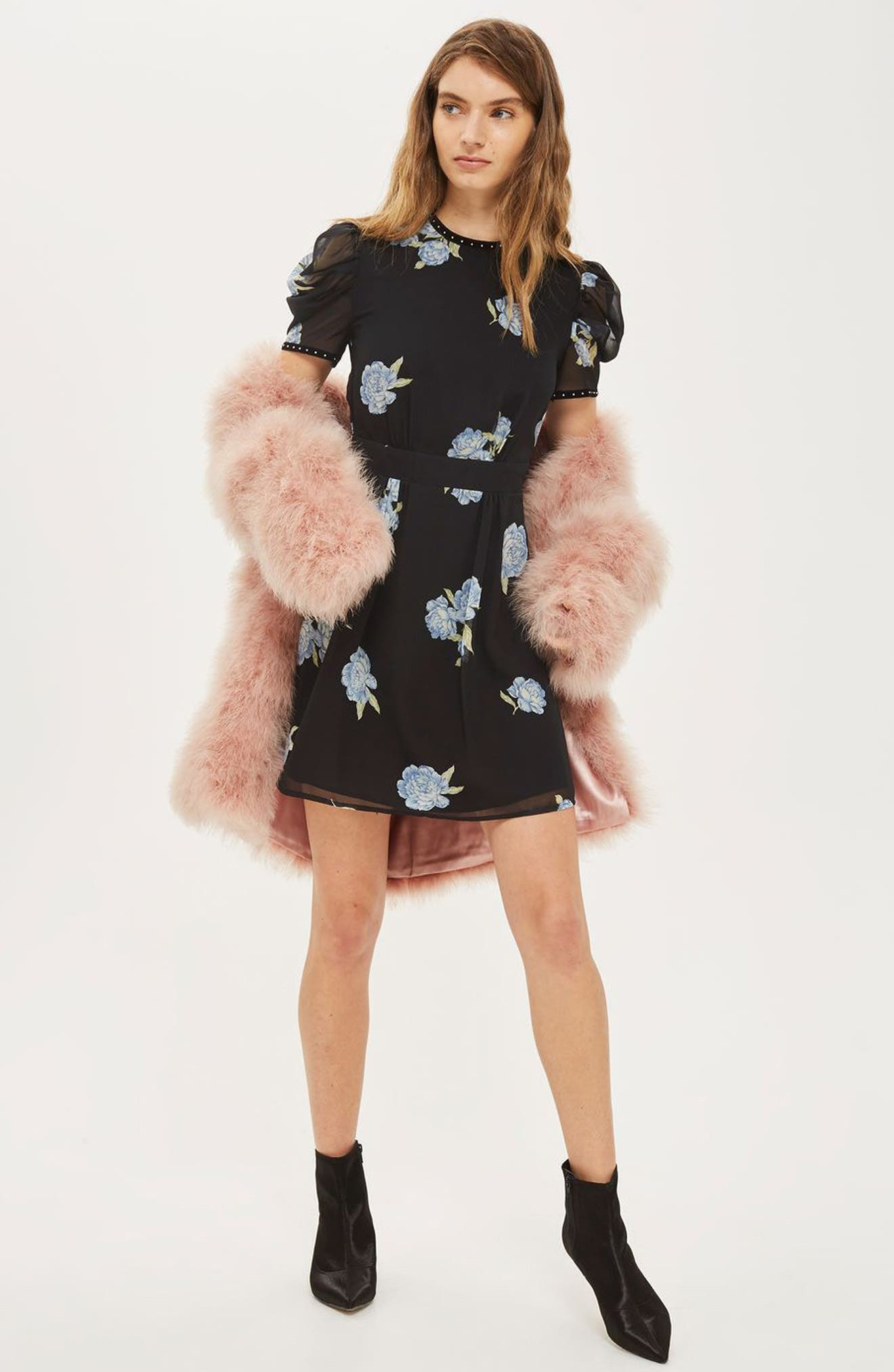 Alternate Image 2  - Topshop Bloom Studded Puff Sleeve Skater Dress