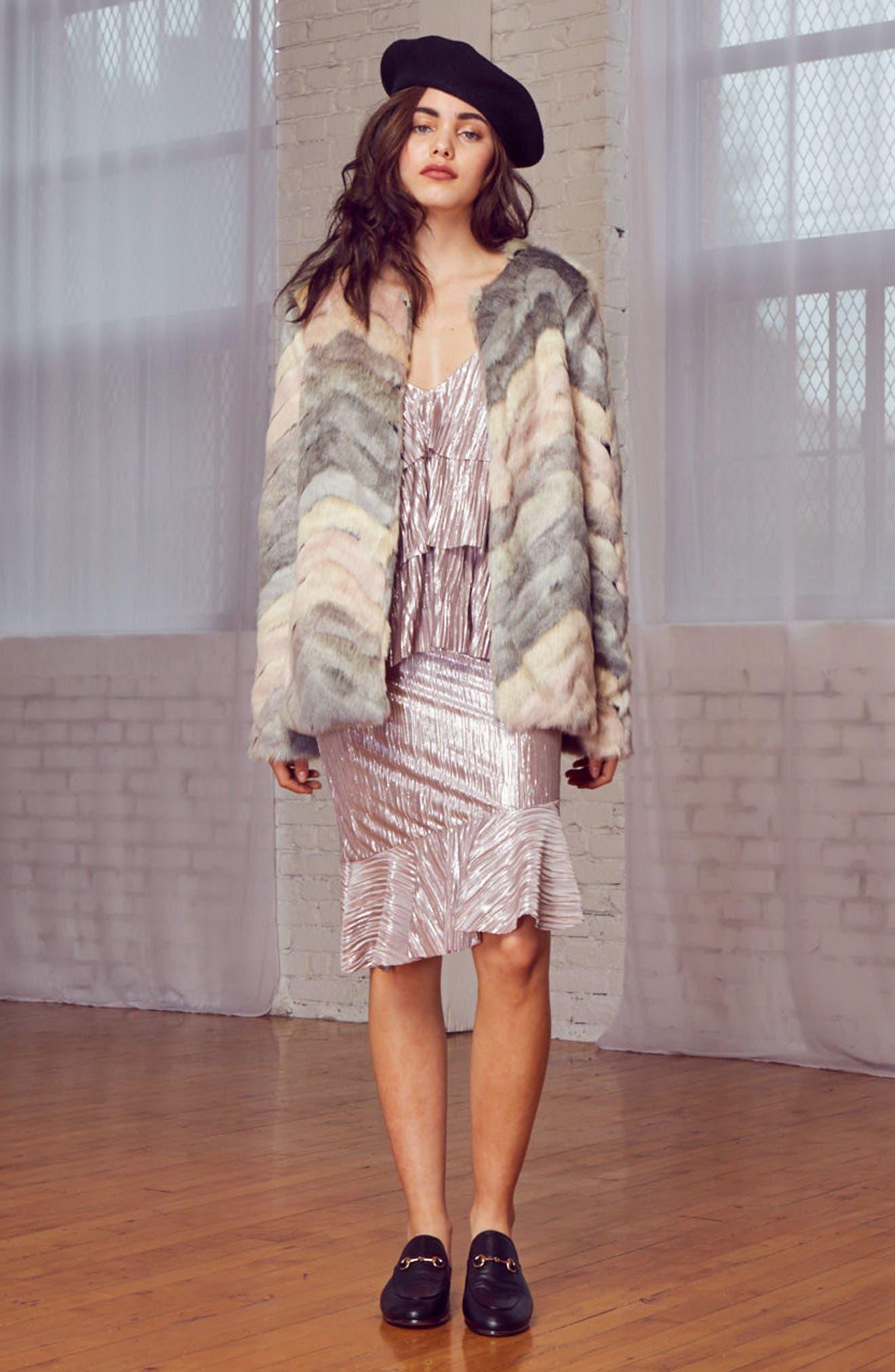 Voila Faux Fur Jacket,                             Alternate thumbnail 7, color,                             Multi