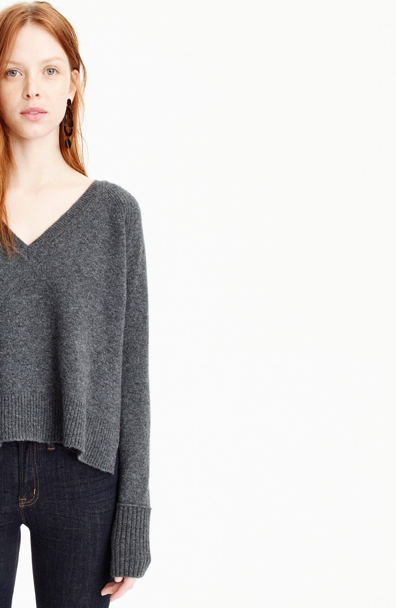 J.Crew Supersoft Yarn V-Neck Sweater,                             Alternate thumbnail 3, color,                             Heather Carbon