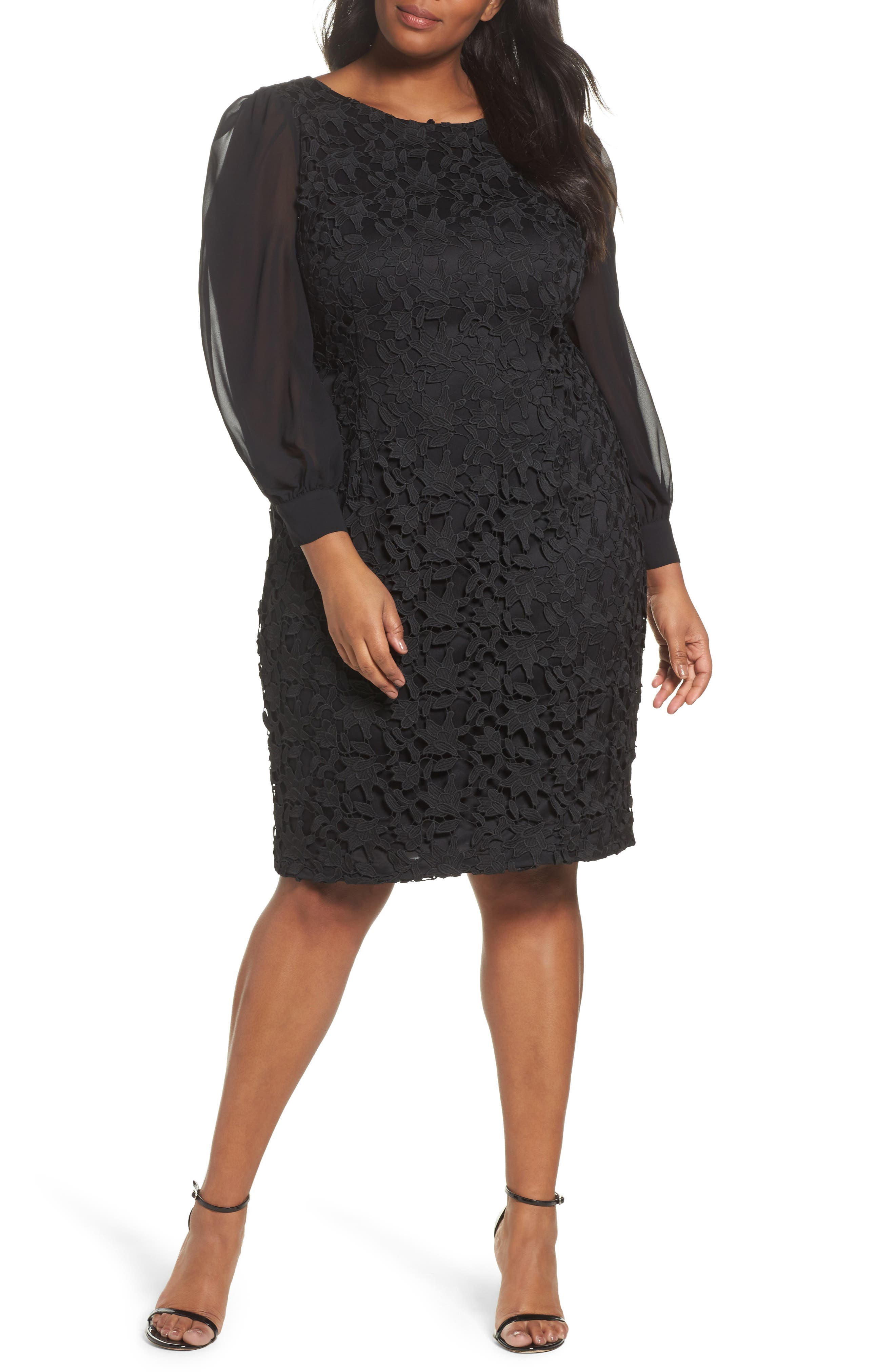 Ava Lace Sheath Dress,                             Main thumbnail 1, color,                             Black