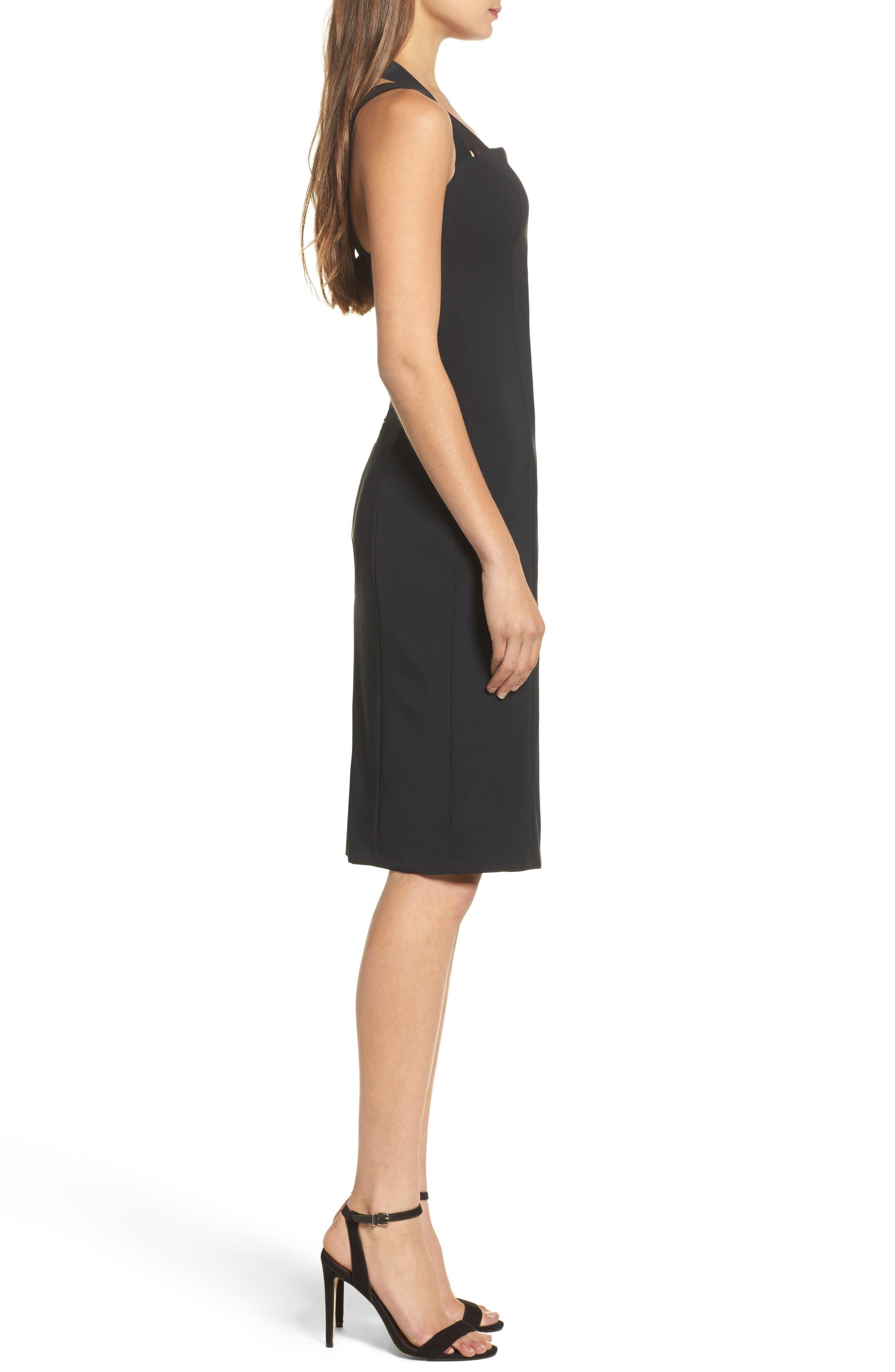 Kendra Elastic Strap Low Back Sheath Dress,                             Alternate thumbnail 3, color,                             Black