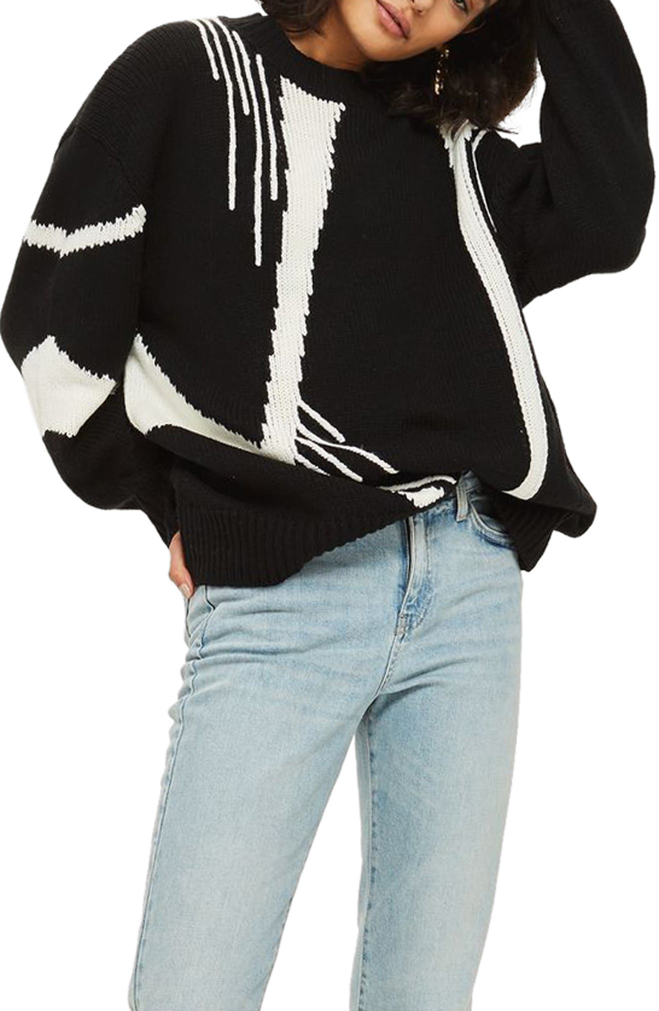 Topshop Abstract Print Oversize Sweater