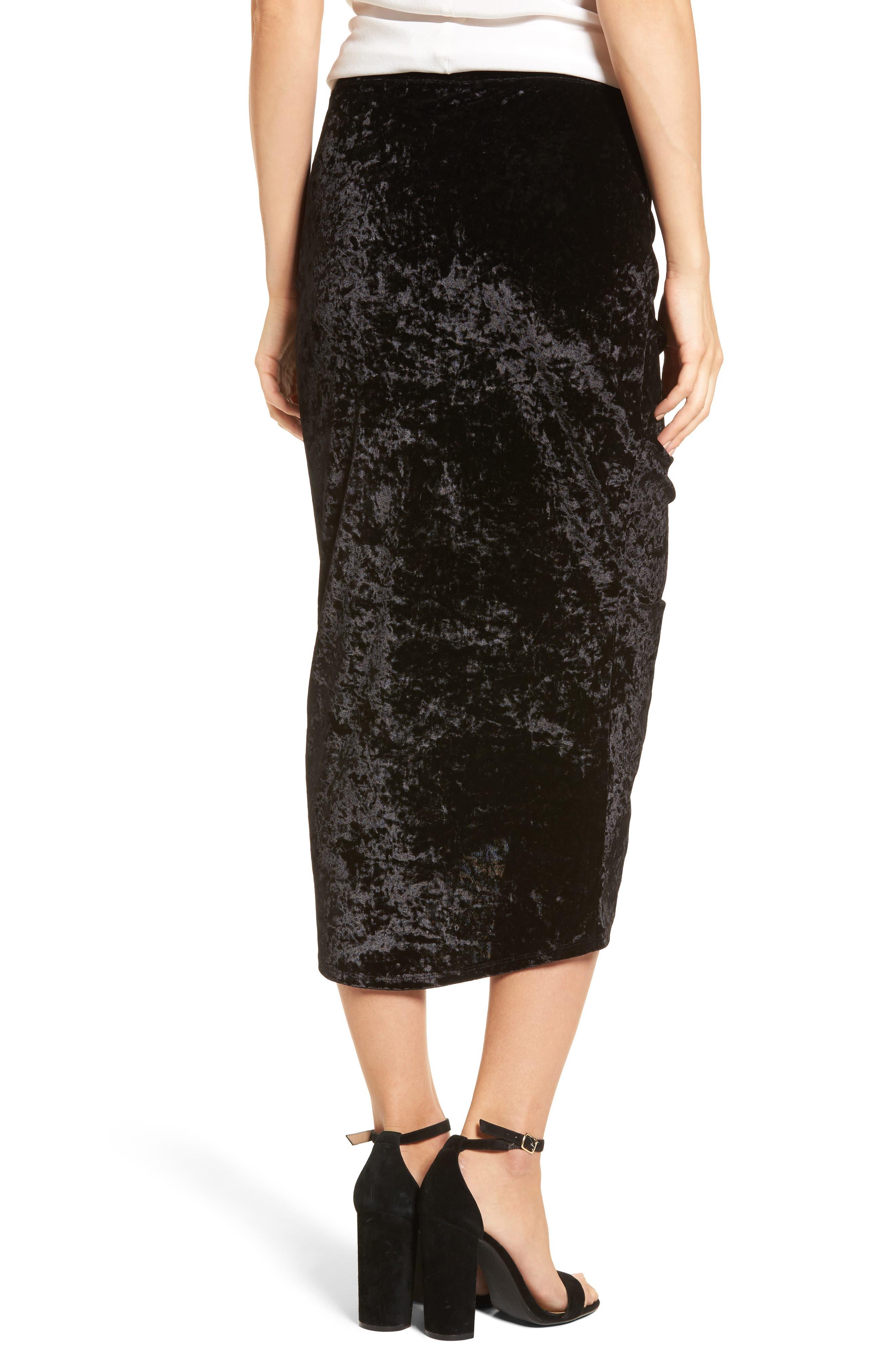 Velvet Midi Skirt,                             Alternate thumbnail 2, color,                             Black