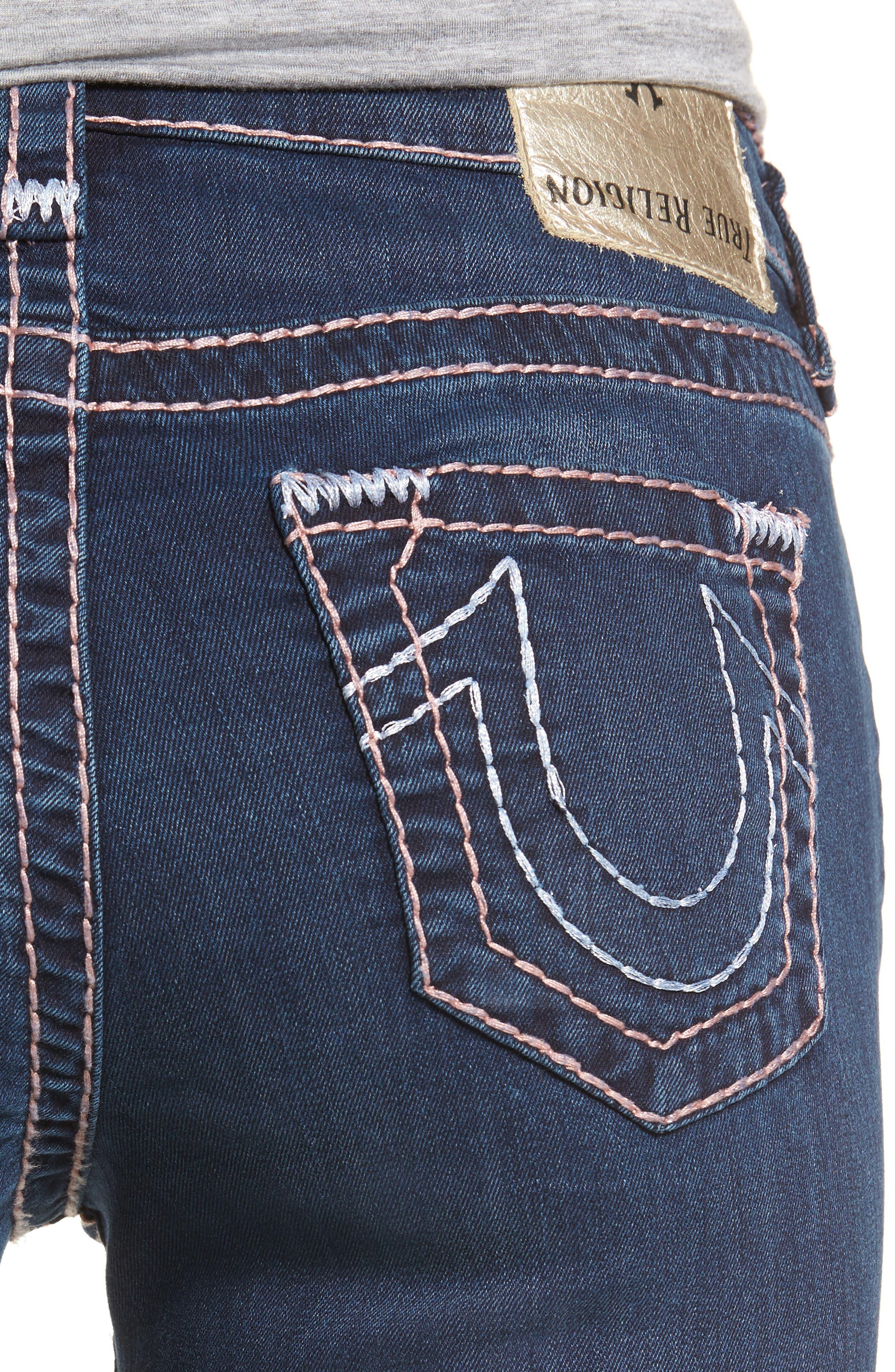 Halle Super Skinny Jeans,                             Alternate thumbnail 4, color,                             Deep Sea Blue