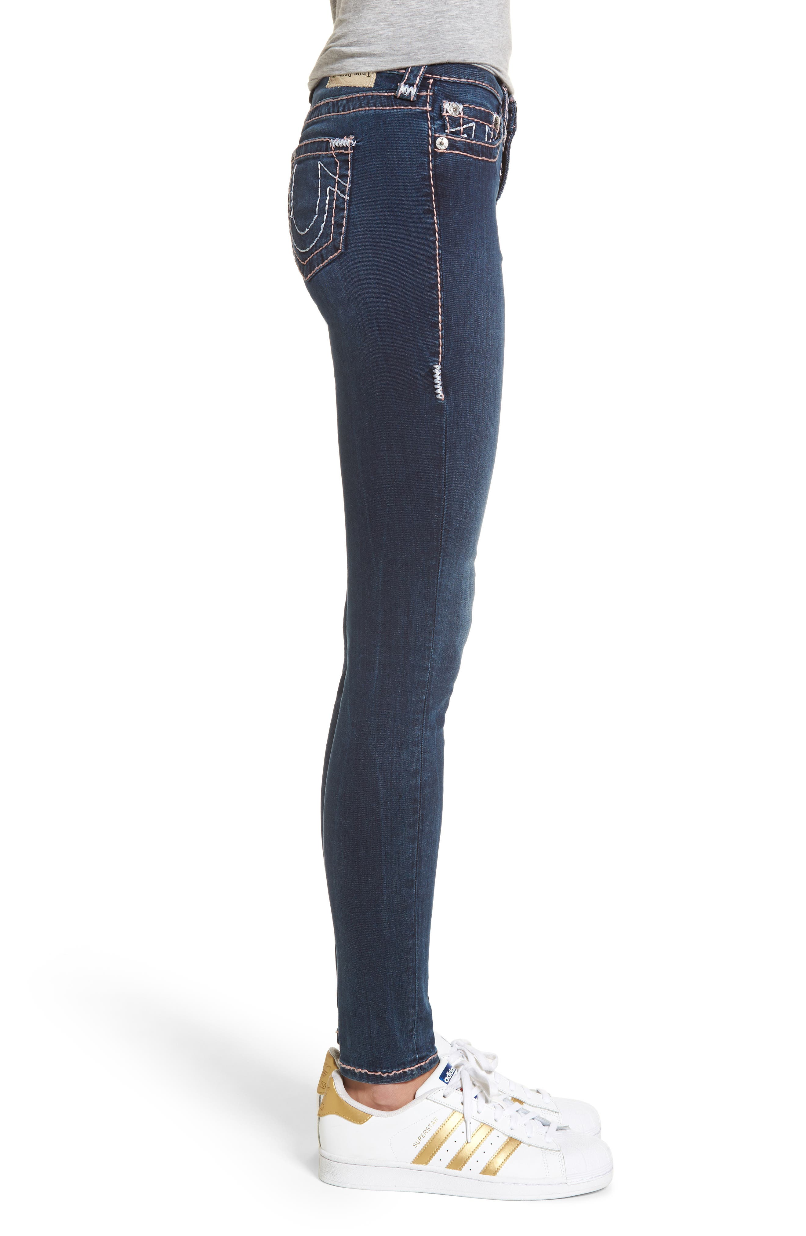 Halle Super Skinny Jeans,                             Alternate thumbnail 3, color,                             Deep Sea Blue