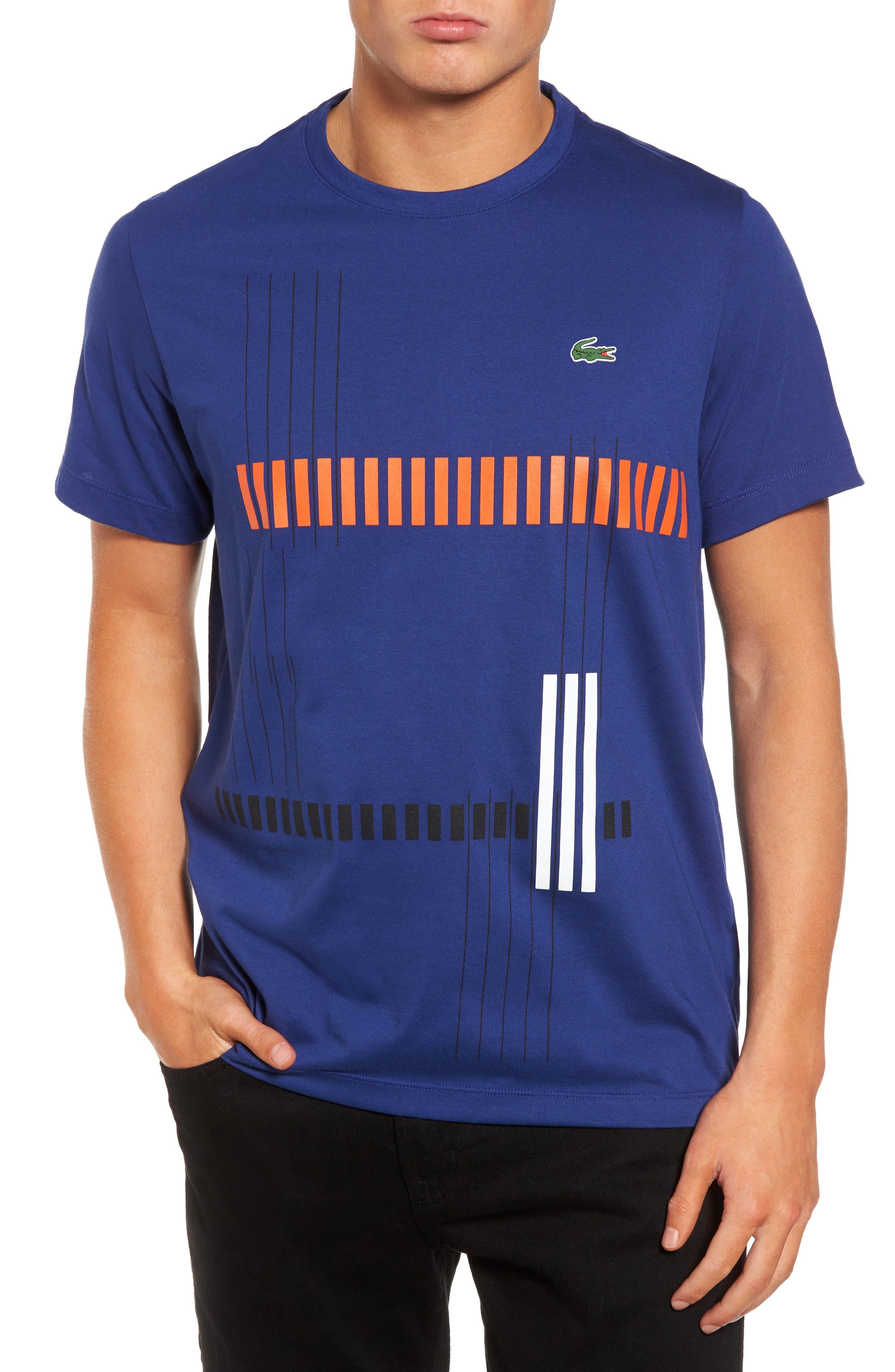 Lacoste Tech Vertical Stripe Graphic T-Shirt