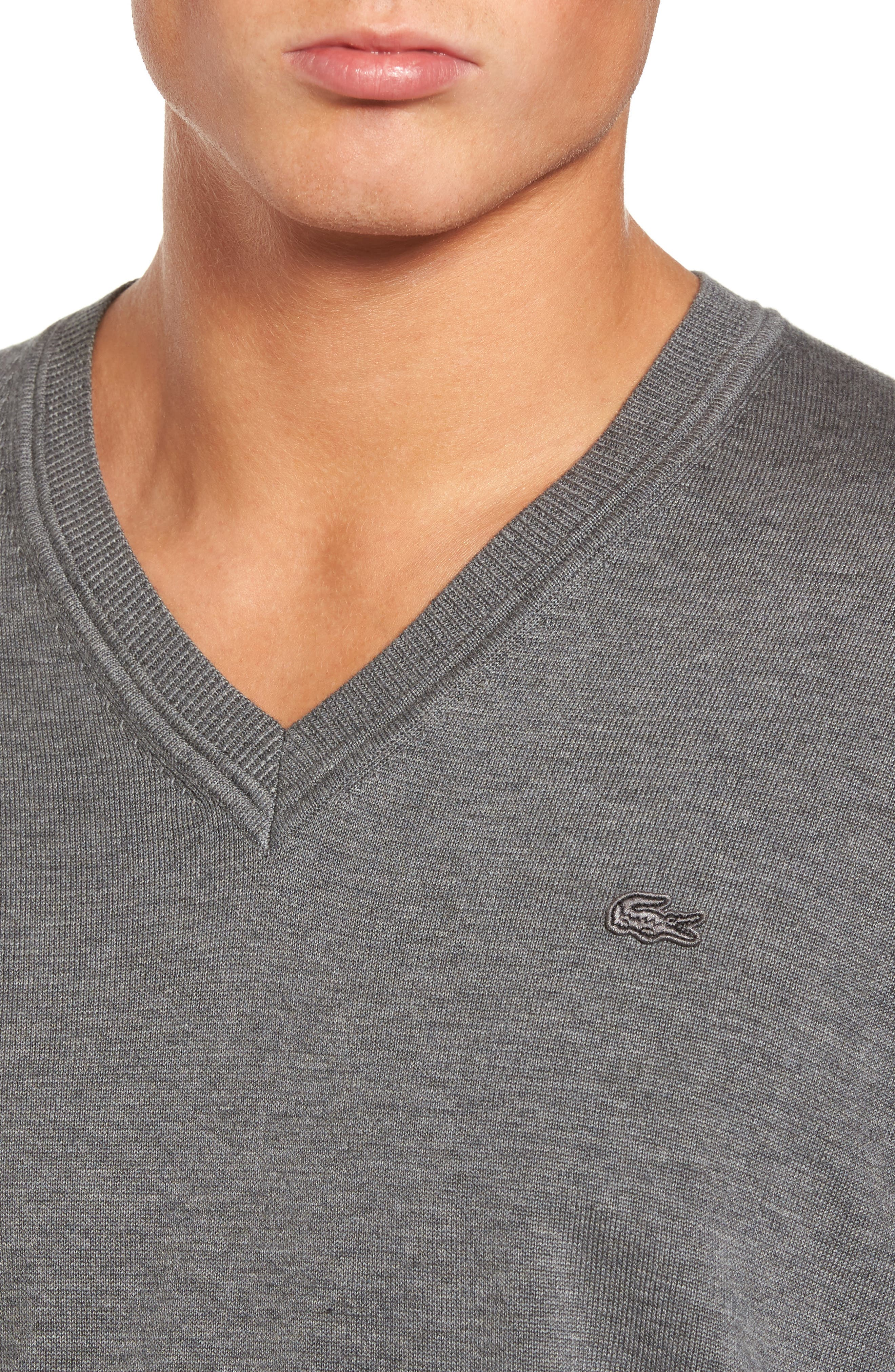 Cotton Jersey V-Neck Sweater,                             Alternate thumbnail 4, color,                             Galaxite