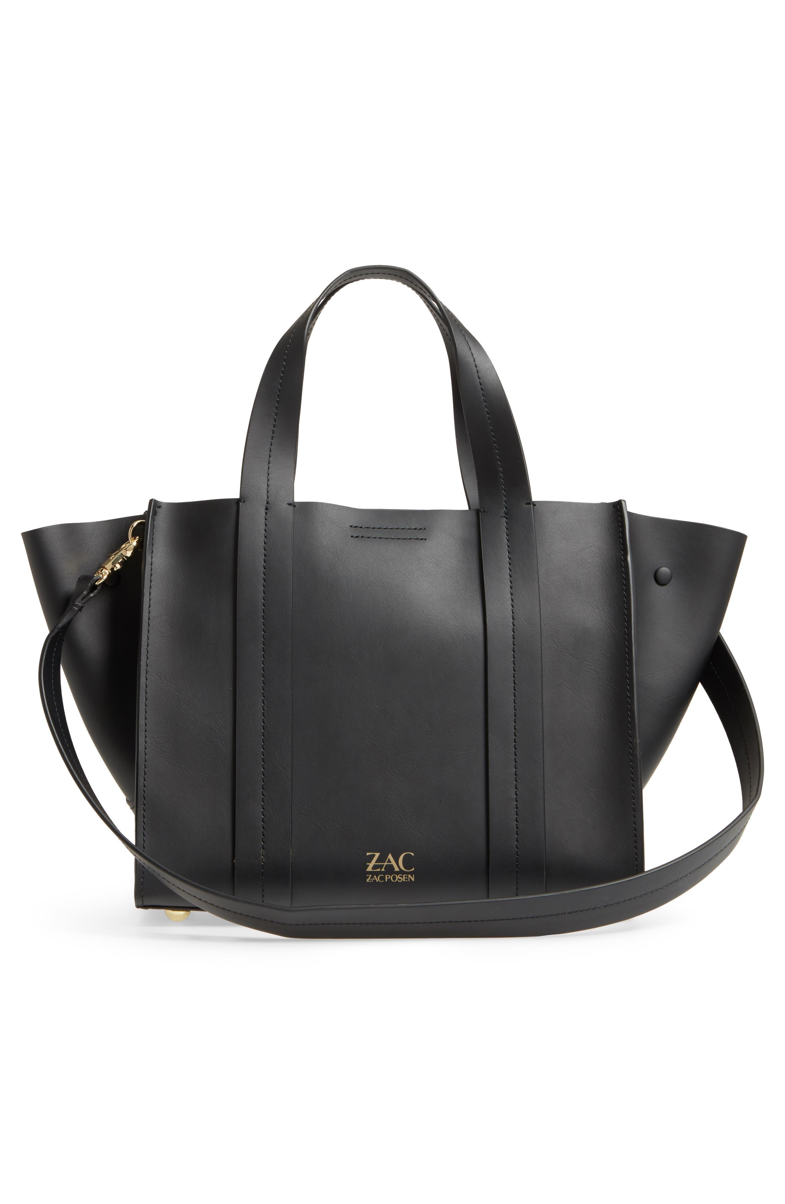 ZAC Zac Posen Eartha Iconic Calfskin Leather Double Handle Satchel,                             Alternate thumbnail 3, color,                             Black