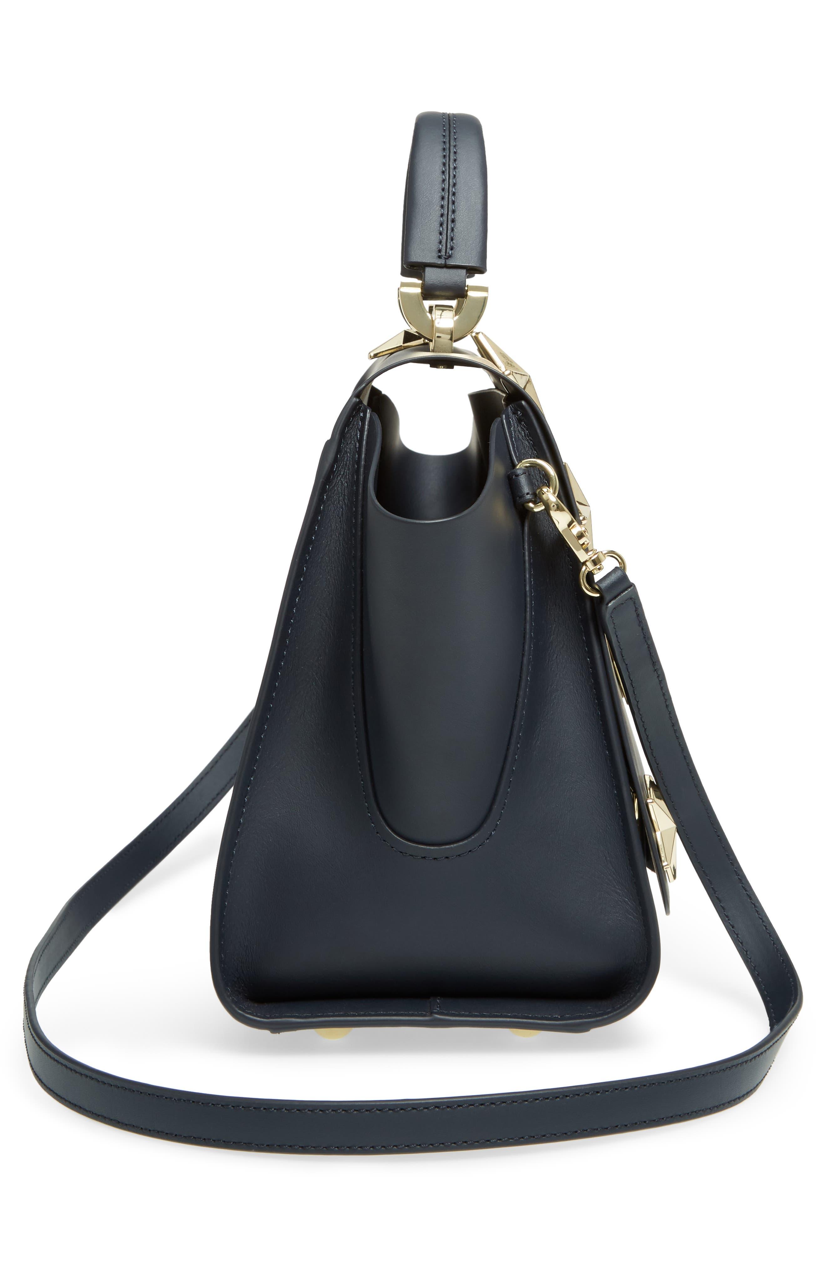 Eartha Iconic Calfskin Leather Top Handle Satchel,                             Alternate thumbnail 5, color,                             Navy