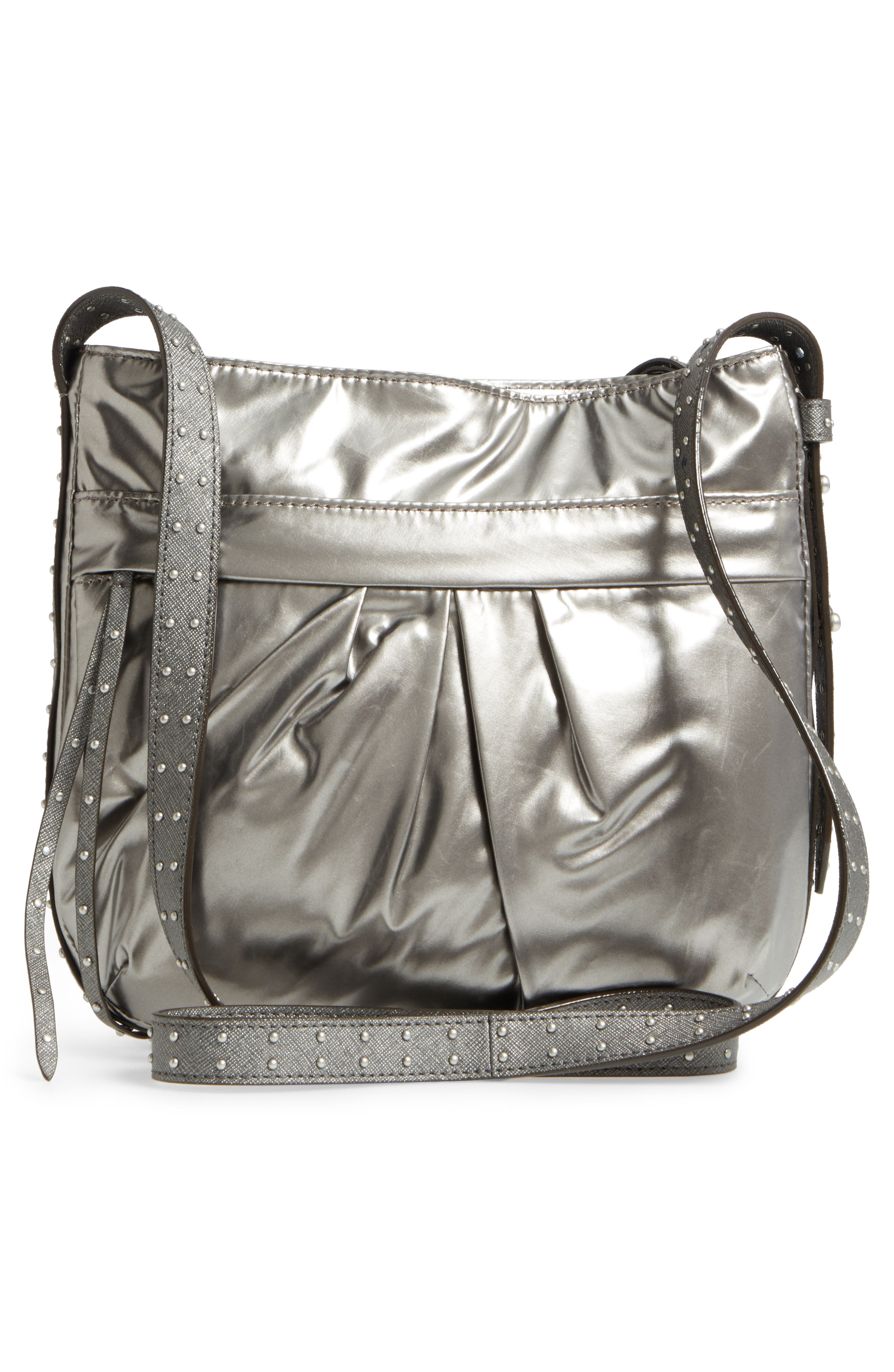 Harlow Crossbody Bag,                             Alternate thumbnail 3, color,                             Pewter Leather Cococha