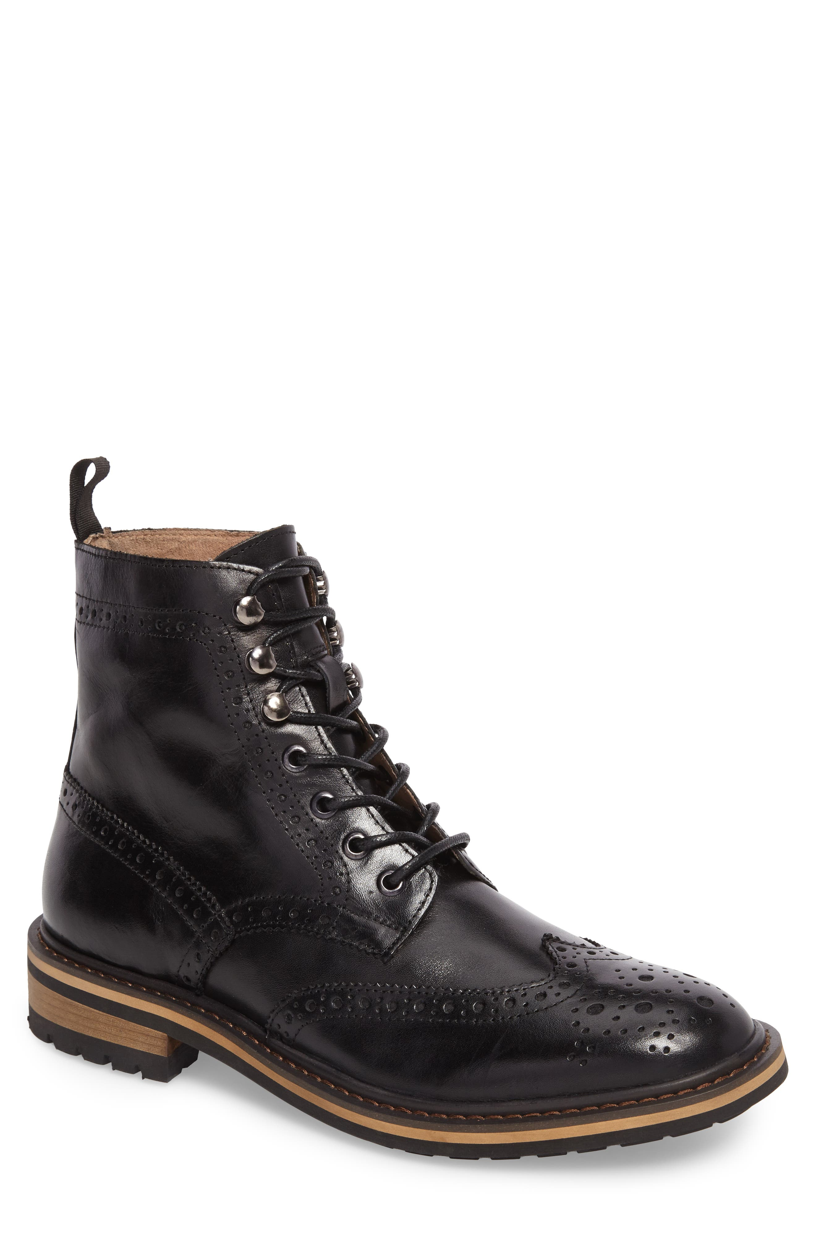 Grange Wingtip Boot,                             Main thumbnail 1, color,                             Black Smooth Leather