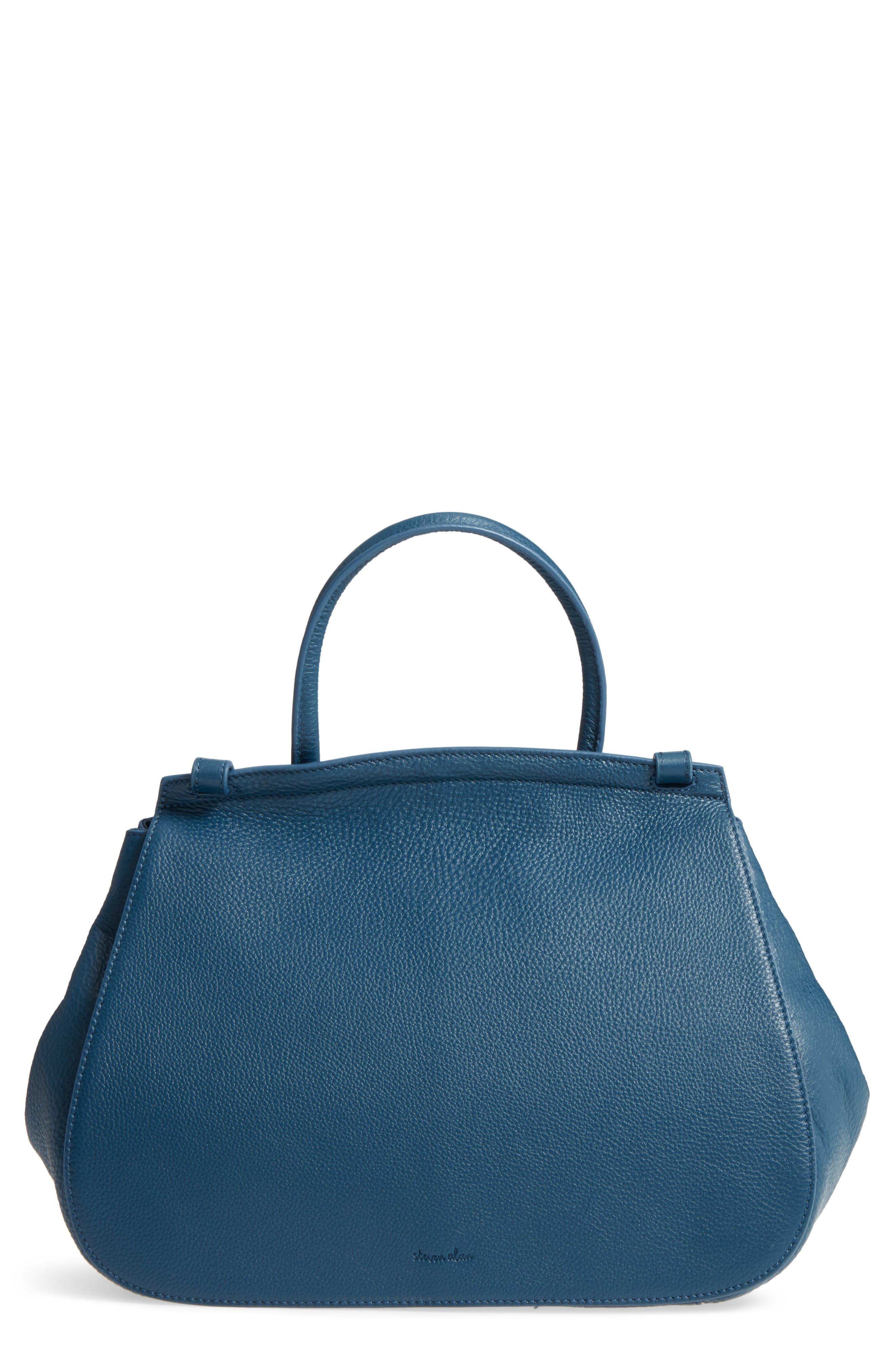 Kate Calfskin Leather Top Handle Satchel,                             Main thumbnail 1, color,                             Navy