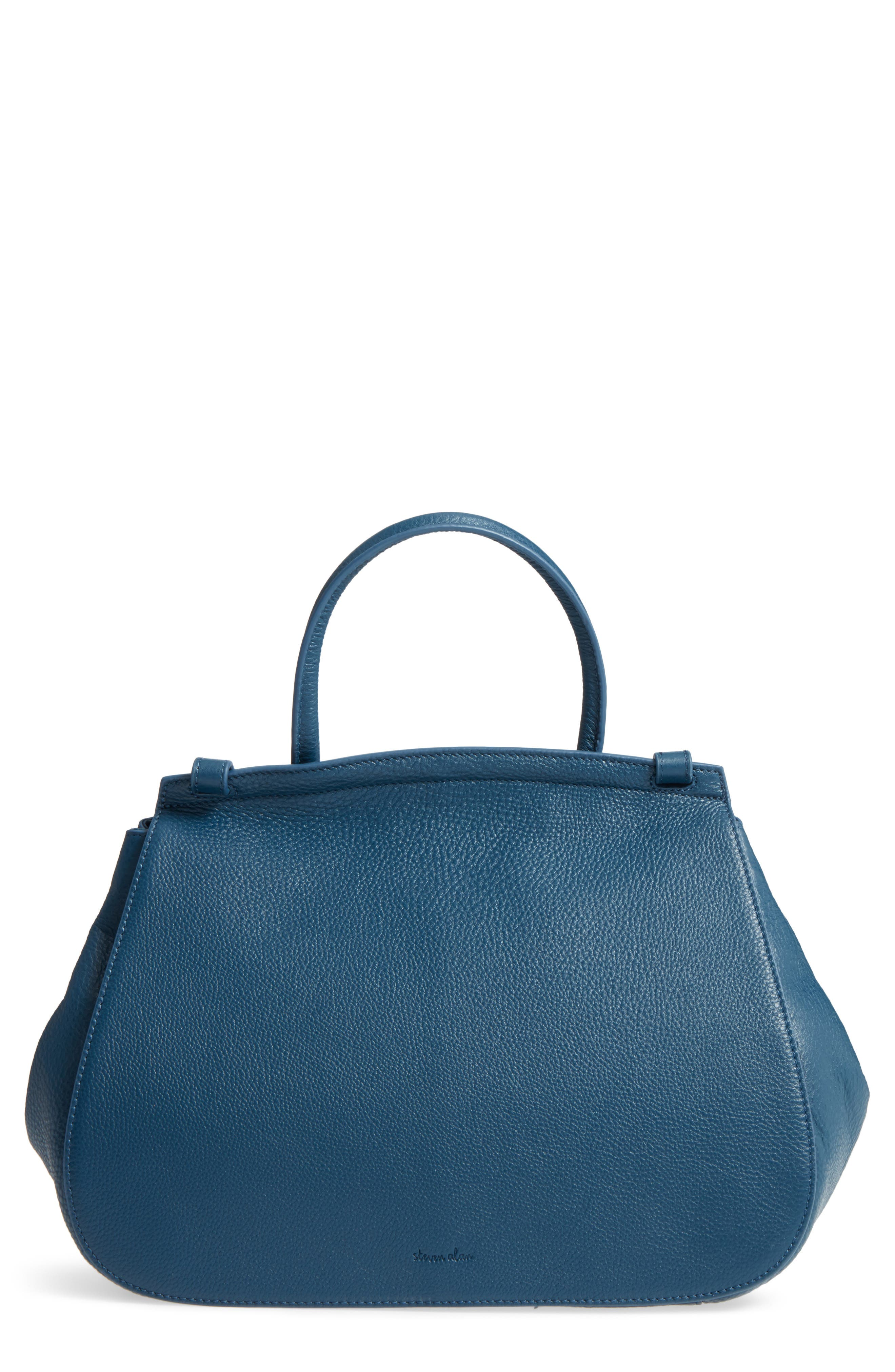Kate Calfskin Leather Top Handle Satchel,                         Main,                         color, Navy