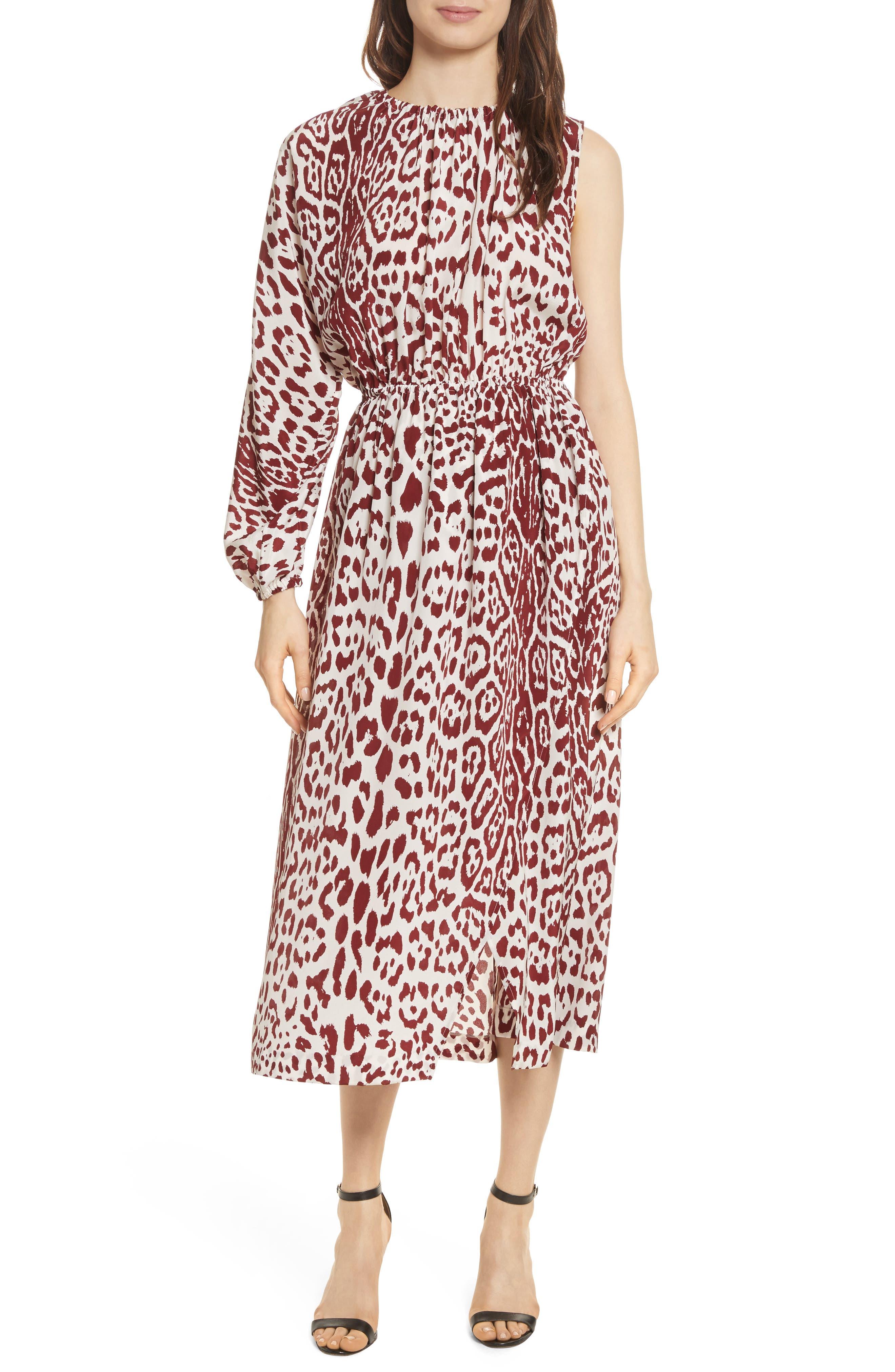 Leopard Print Silk Midi Dress,                         Main,                         color, Crimson Leopard