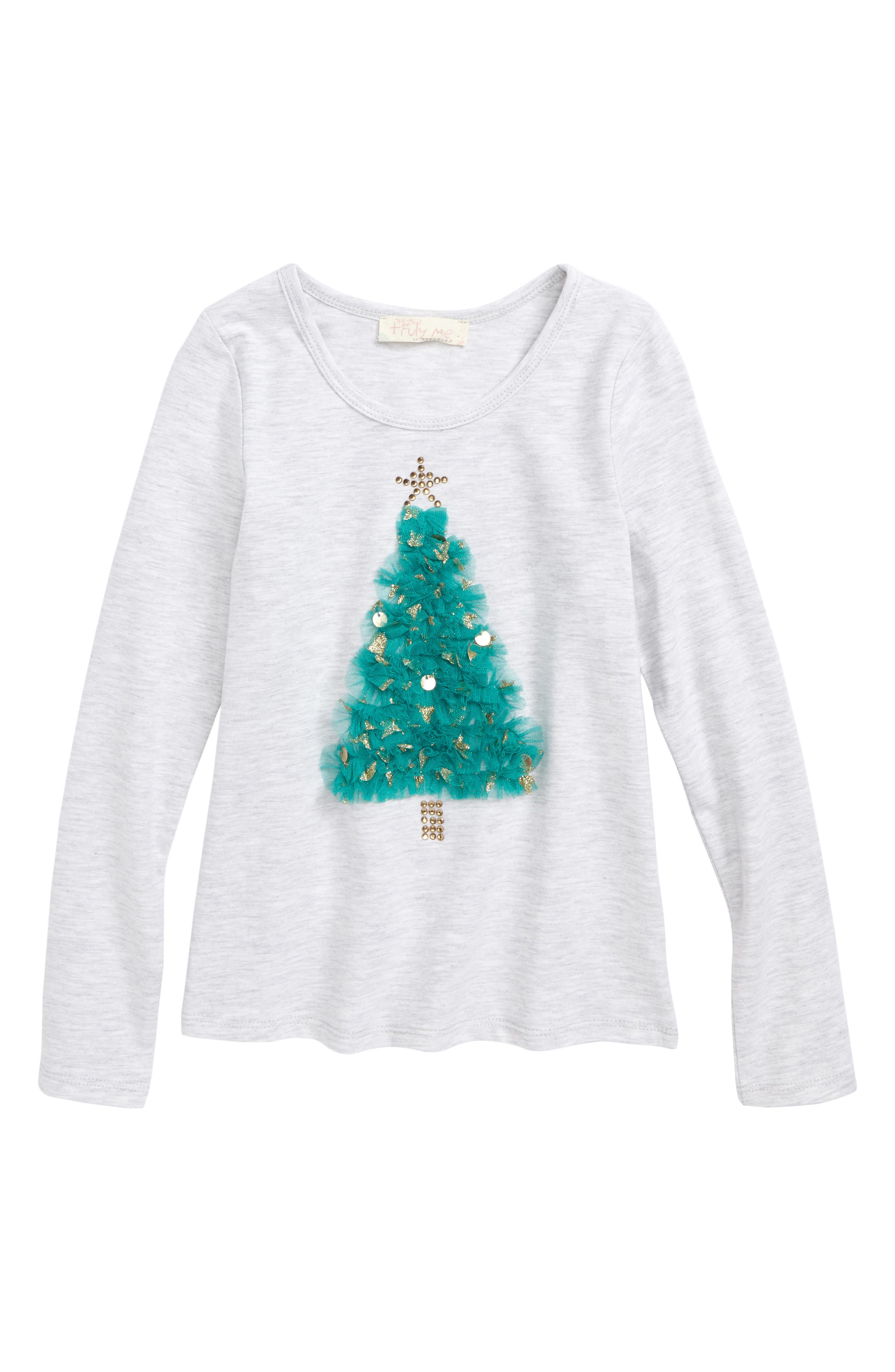 Truly Me Embellished Christmas Tree Tee (Toddler Girls & Little Girls)