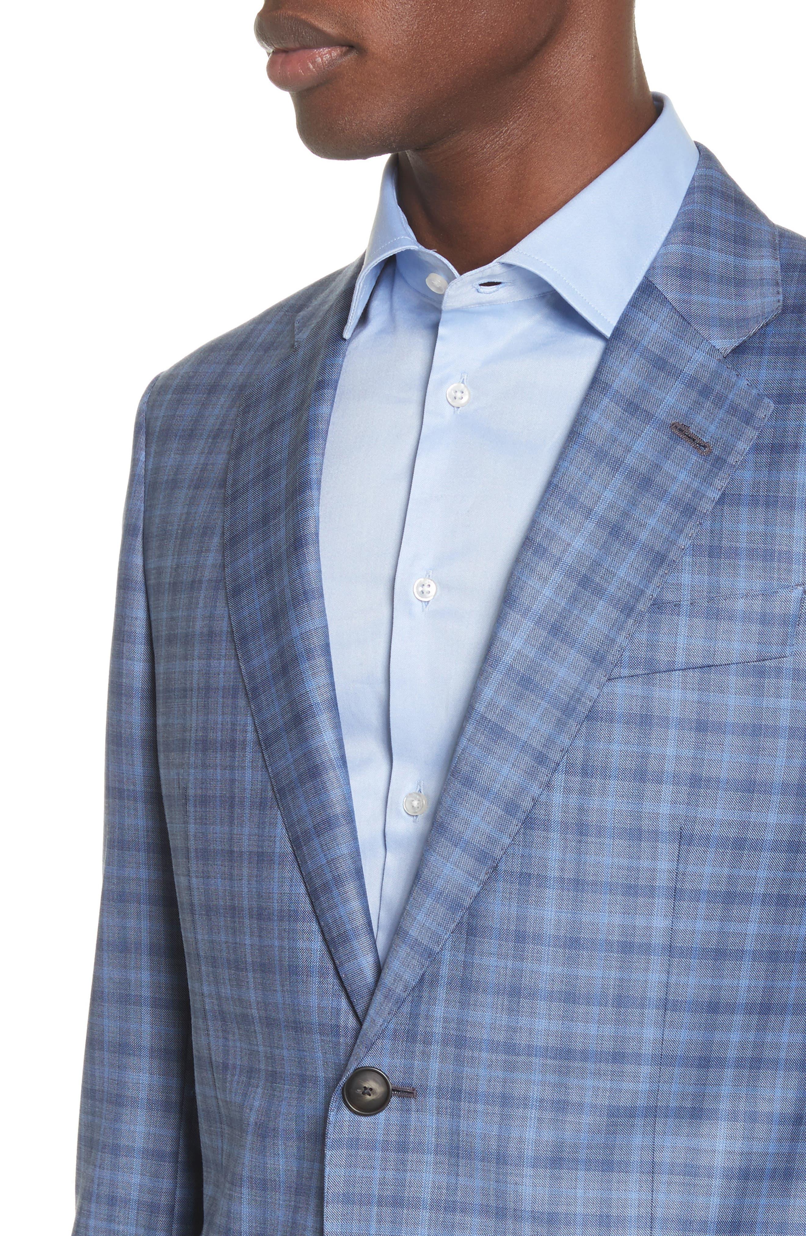 G Line Trim Fit Plaid Wool Sport Coat,                             Alternate thumbnail 4, color,                             Navy
