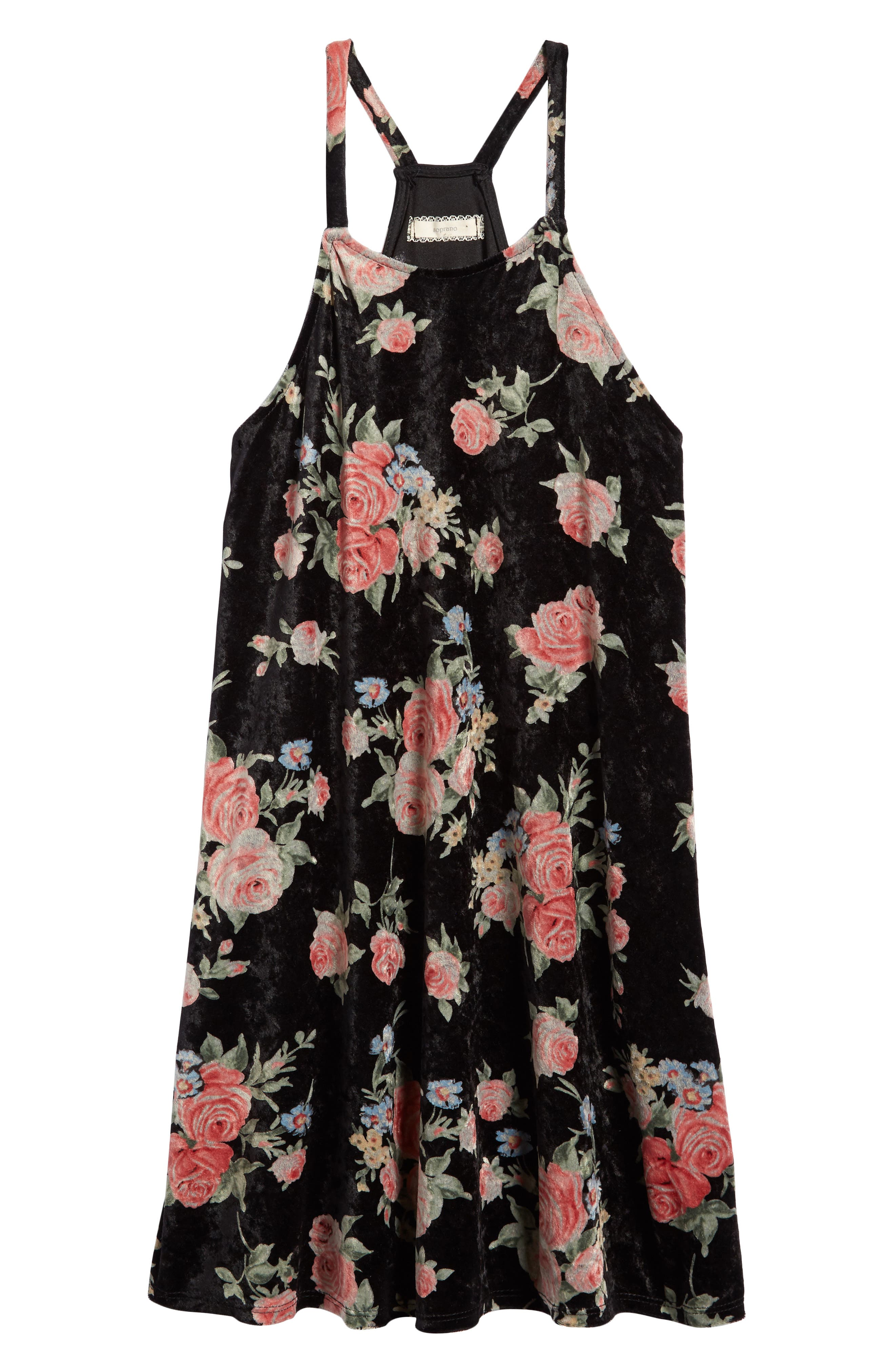 Soprano Floral Print Velvet Slipdress (Big Girls)