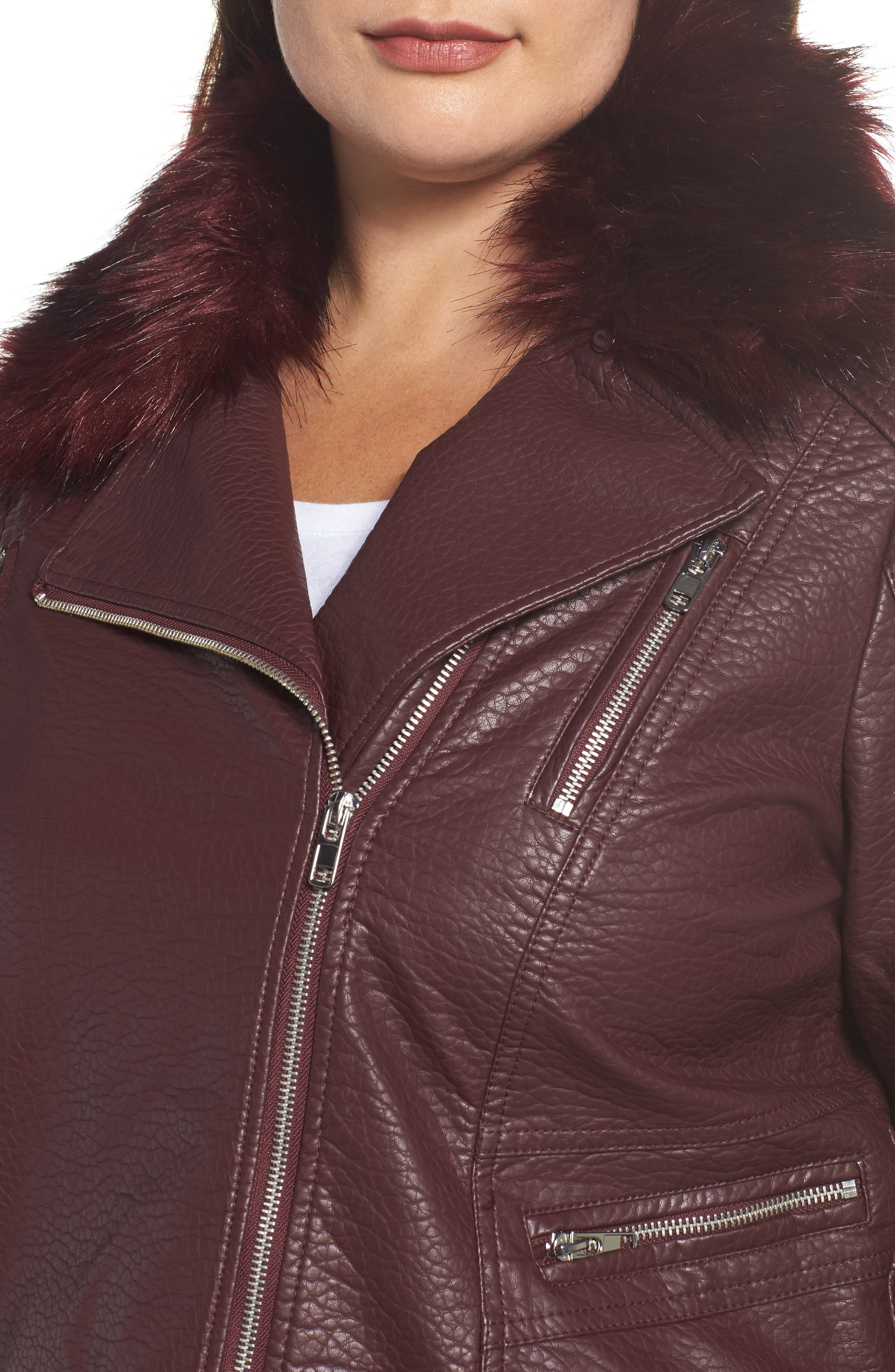 Alternate Image 4  - LOST INK Faux Fur Trim Moto Jacket (Plus Size)