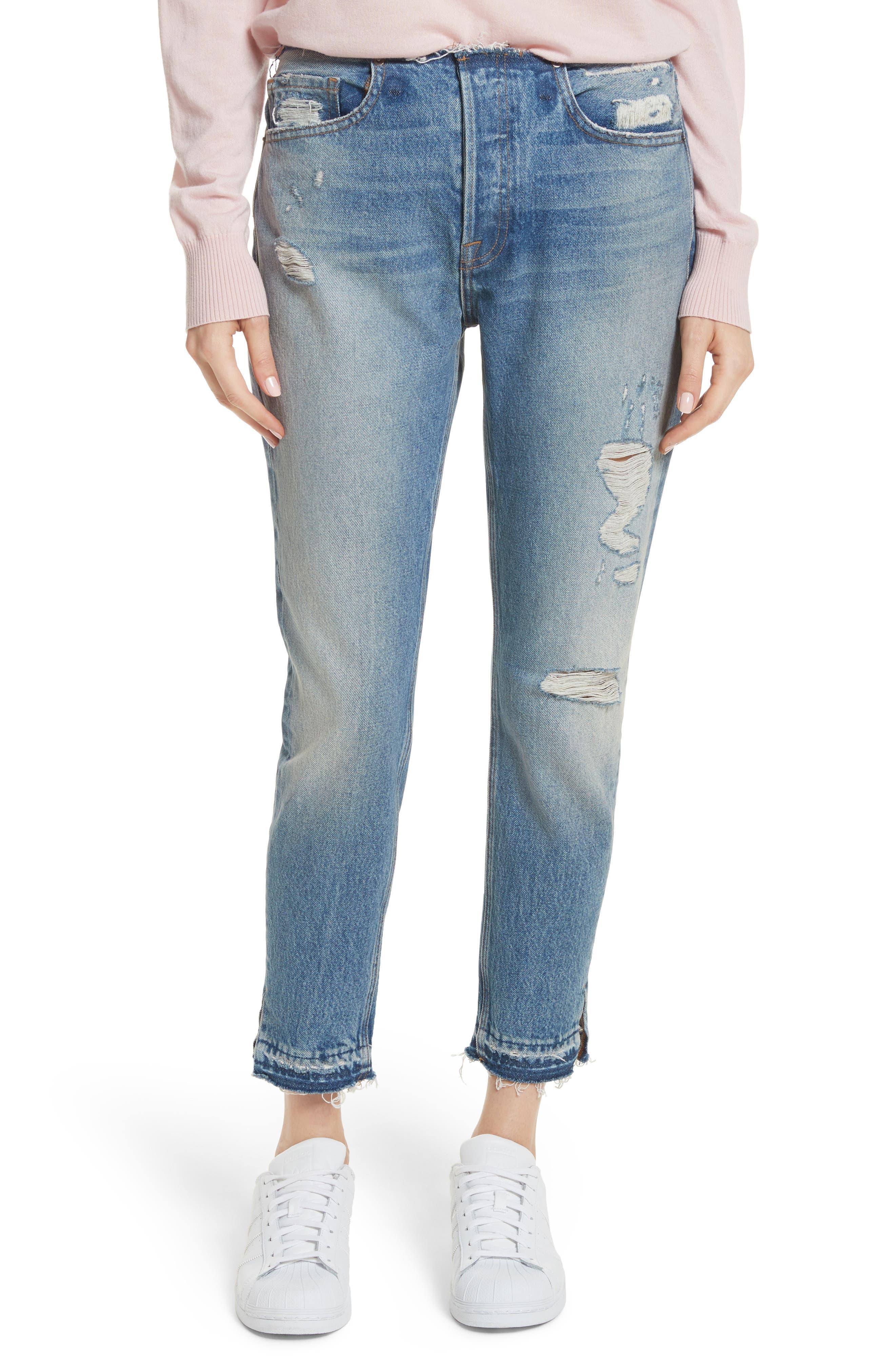 Re-Release Le Original Raw Edge High Waist Jeans,                         Main,                         color, Horne