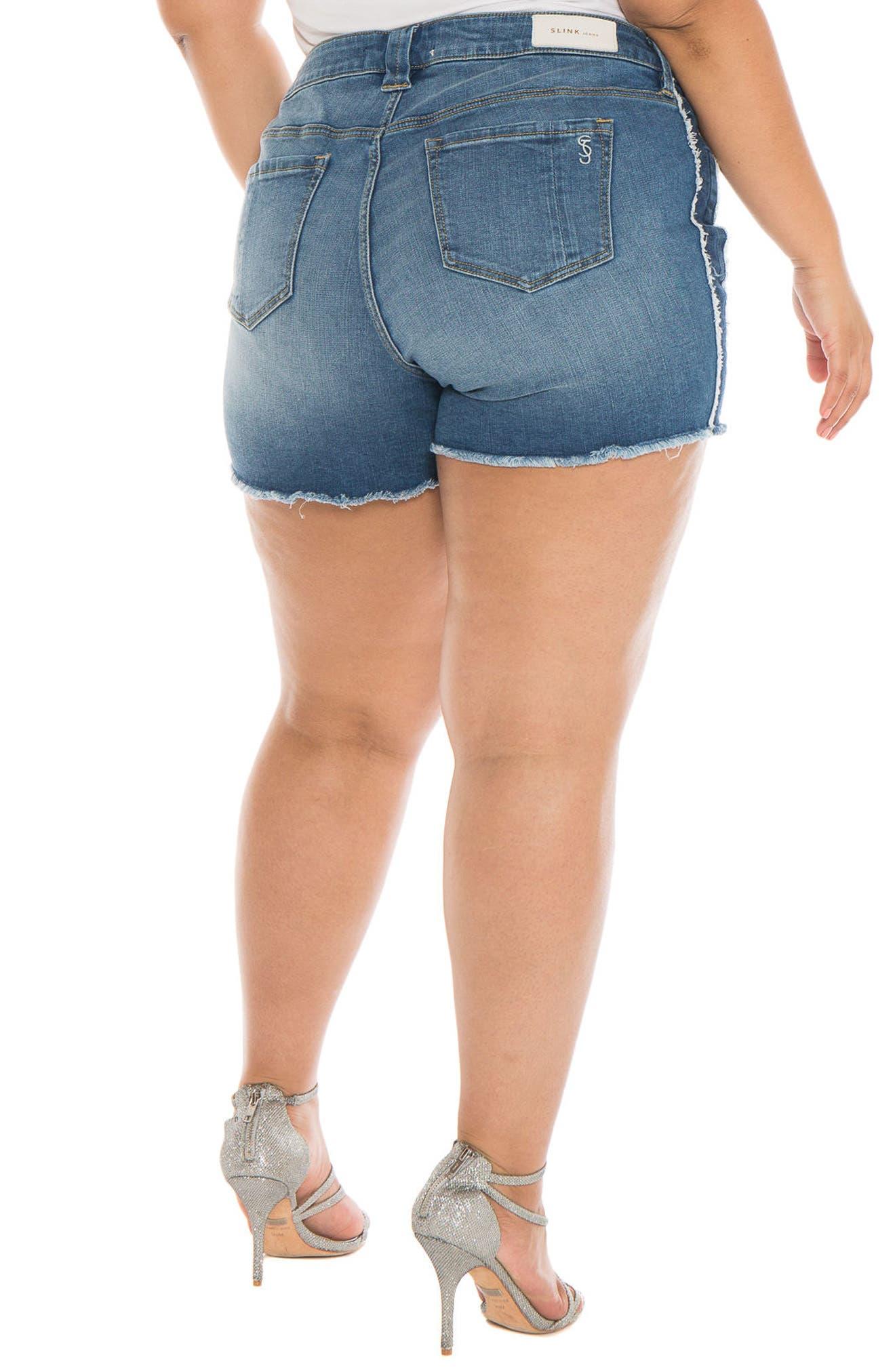 Tux Frayed Denim Shorts,                             Alternate thumbnail 3, color,                             Miriam
