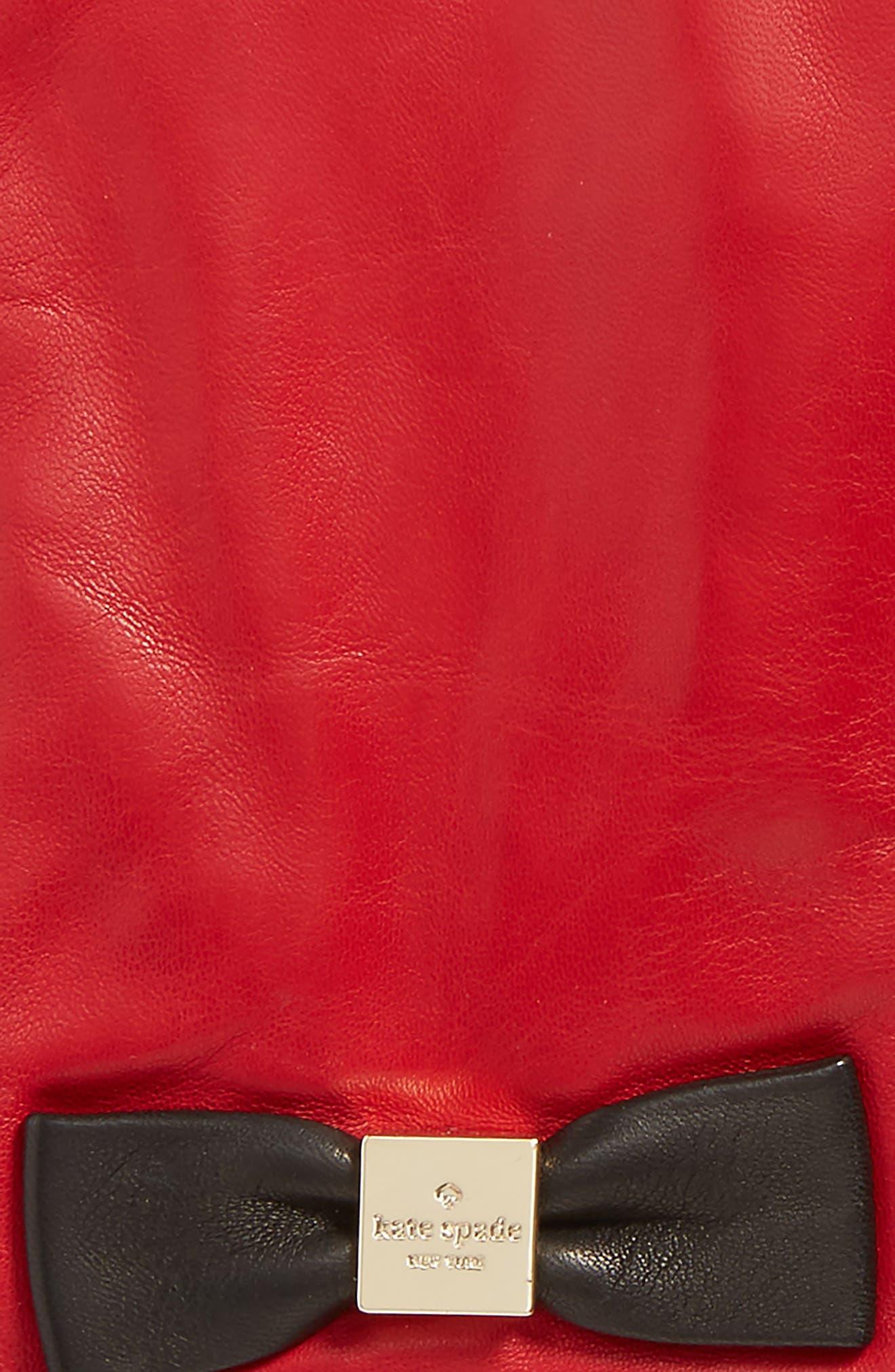 katespade new york'bow logo' gloves,                             Alternate thumbnail 3, color,                             Charm Red/Black