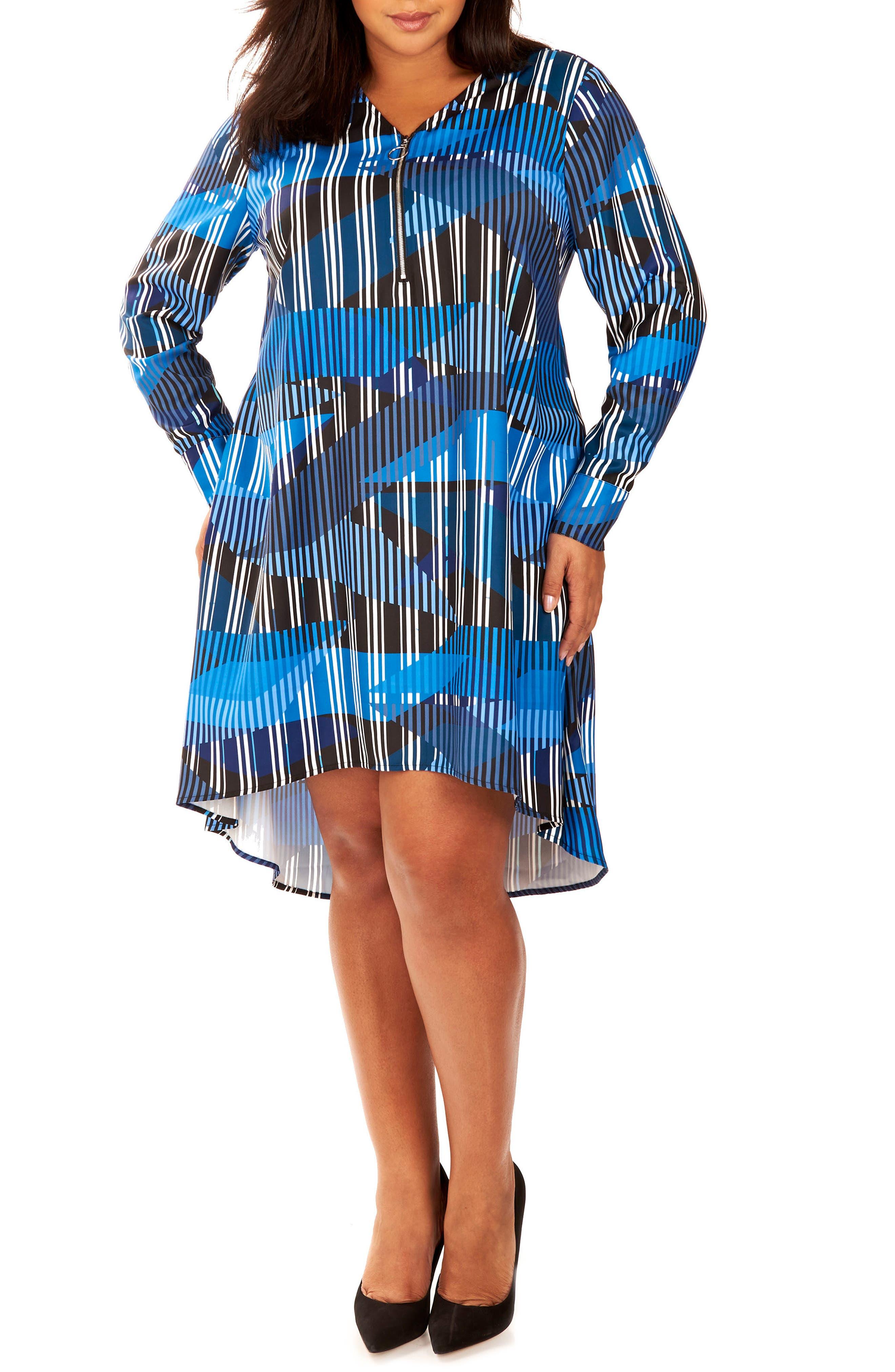 REBEL WILSON X ANGELS Zipper V-Neck Shift Dress (Plus Size)