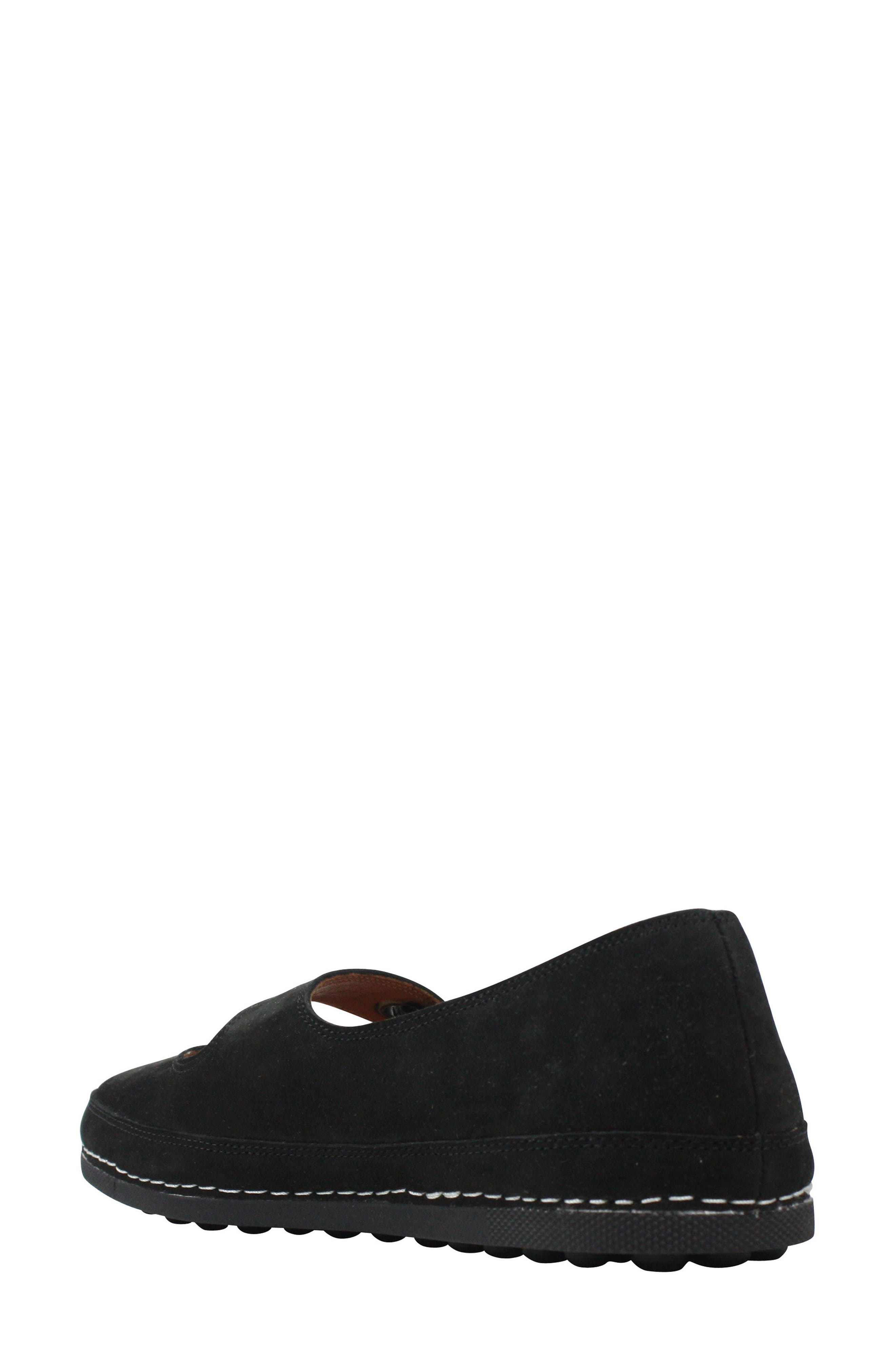 Denisse Mary Jane Flat,                             Alternate thumbnail 2, color,                             Black Nubuck Leather