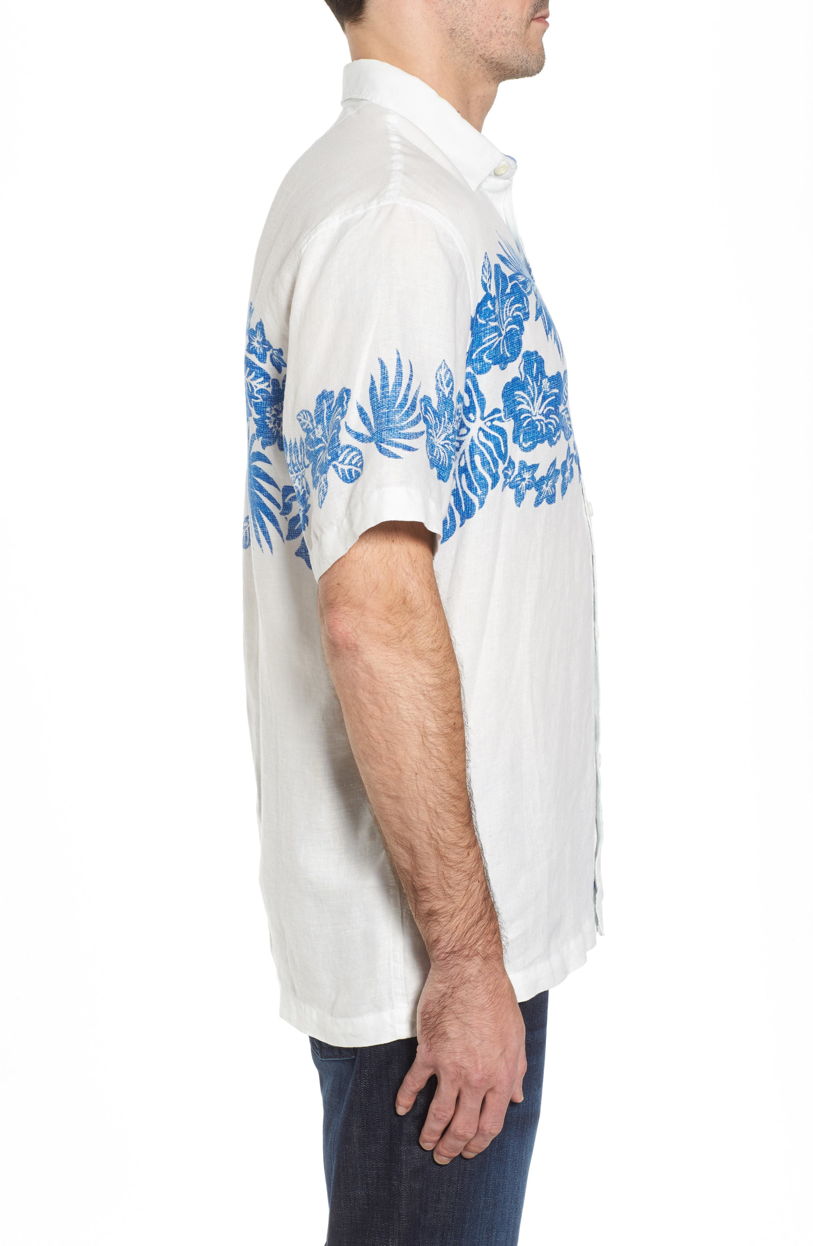 Waimea Wonder Linen Camp Shirt,                             Alternate thumbnail 3, color,                             Coconut