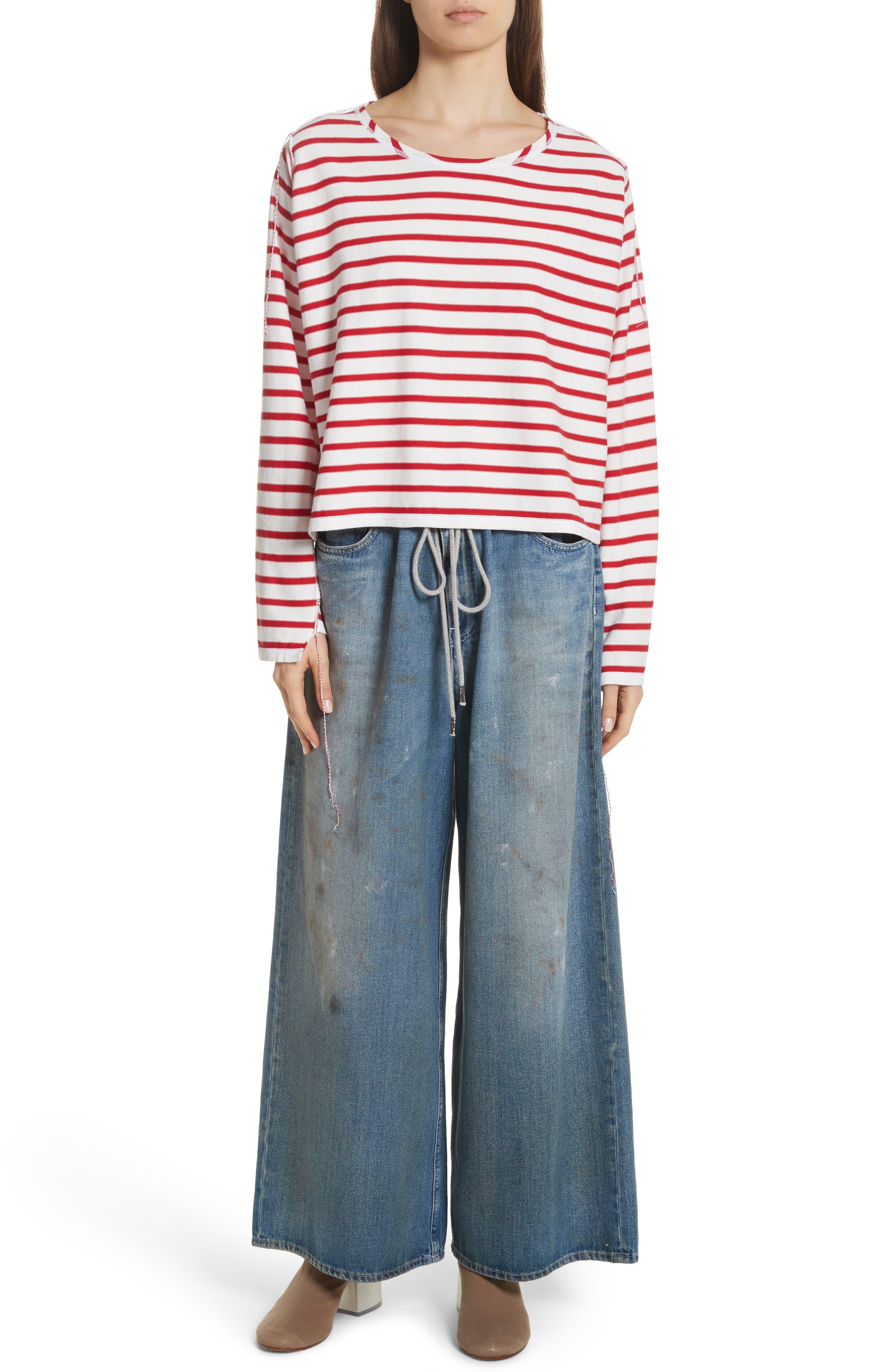 Drawstring Wide Leg Jeans,                             Alternate thumbnail 7, color,                             Indigo Stone Wash