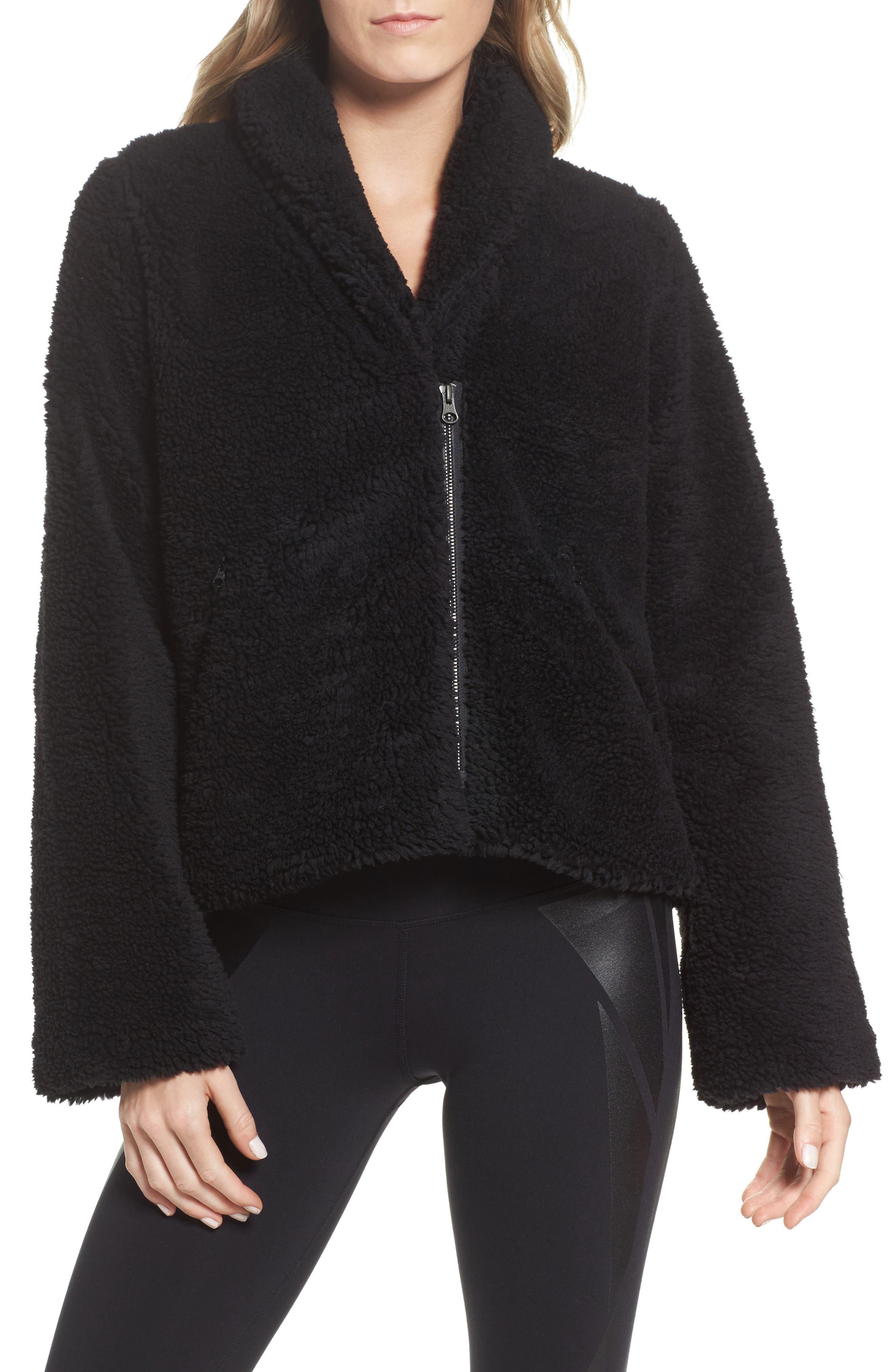 Cozy Up Faux Fur Crop Jacket,                             Main thumbnail 1, color,                             Black
