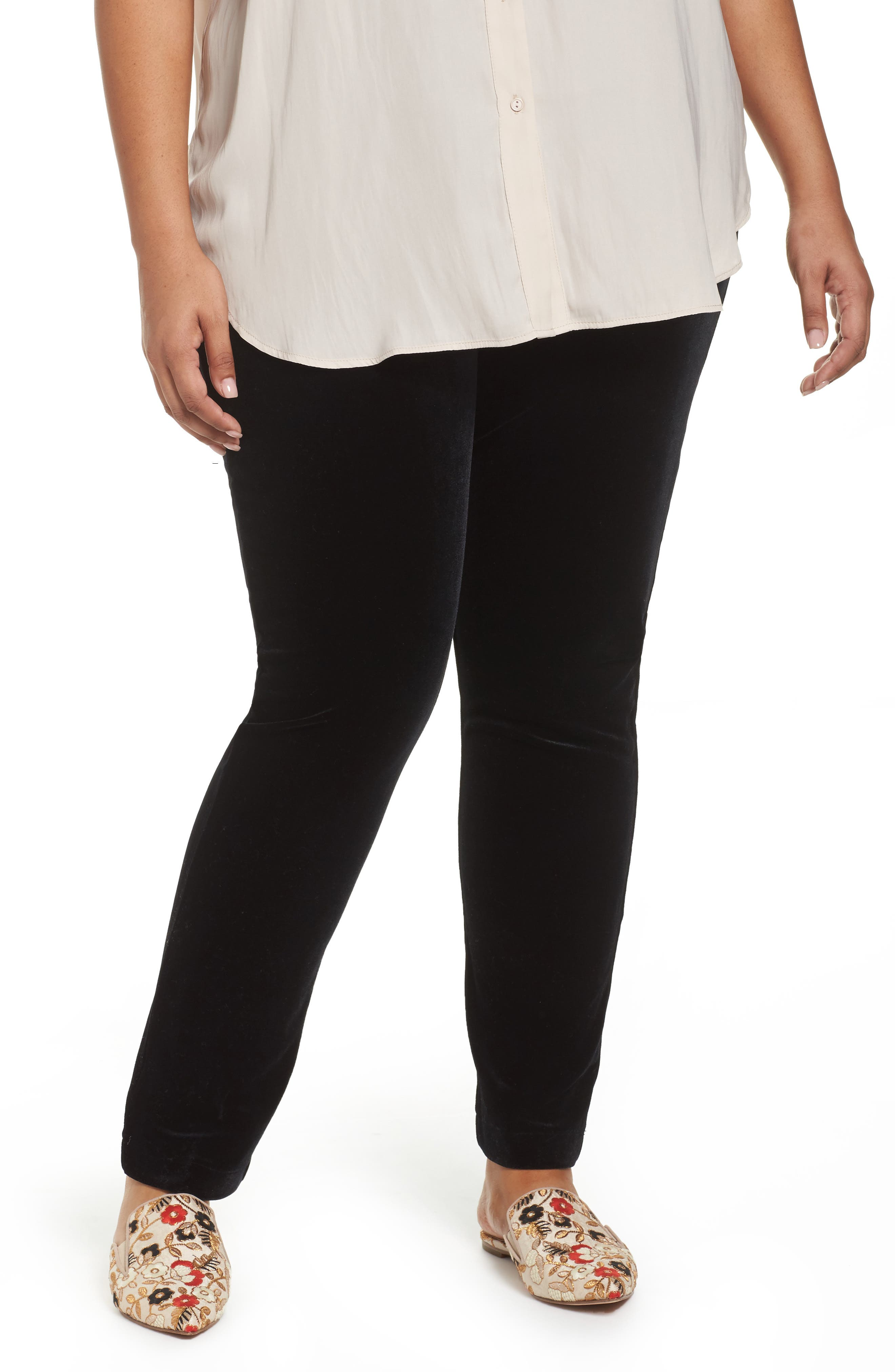 Alternate Image 1 Selected - ELVI Black Velvet Trousers (Plus Size)