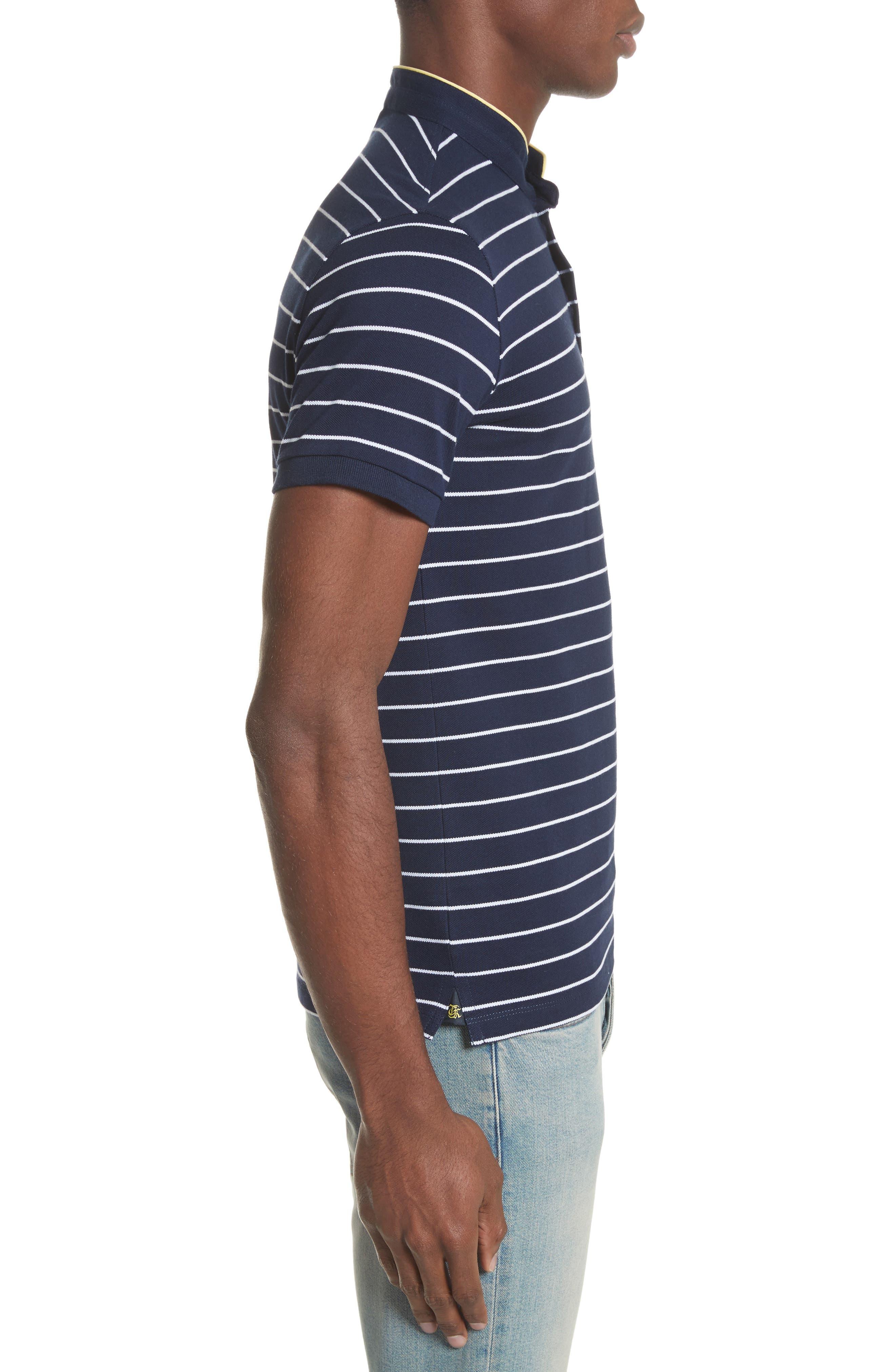 Stripe Officer Polo Shirt,                             Alternate thumbnail 3, color,                             Navy