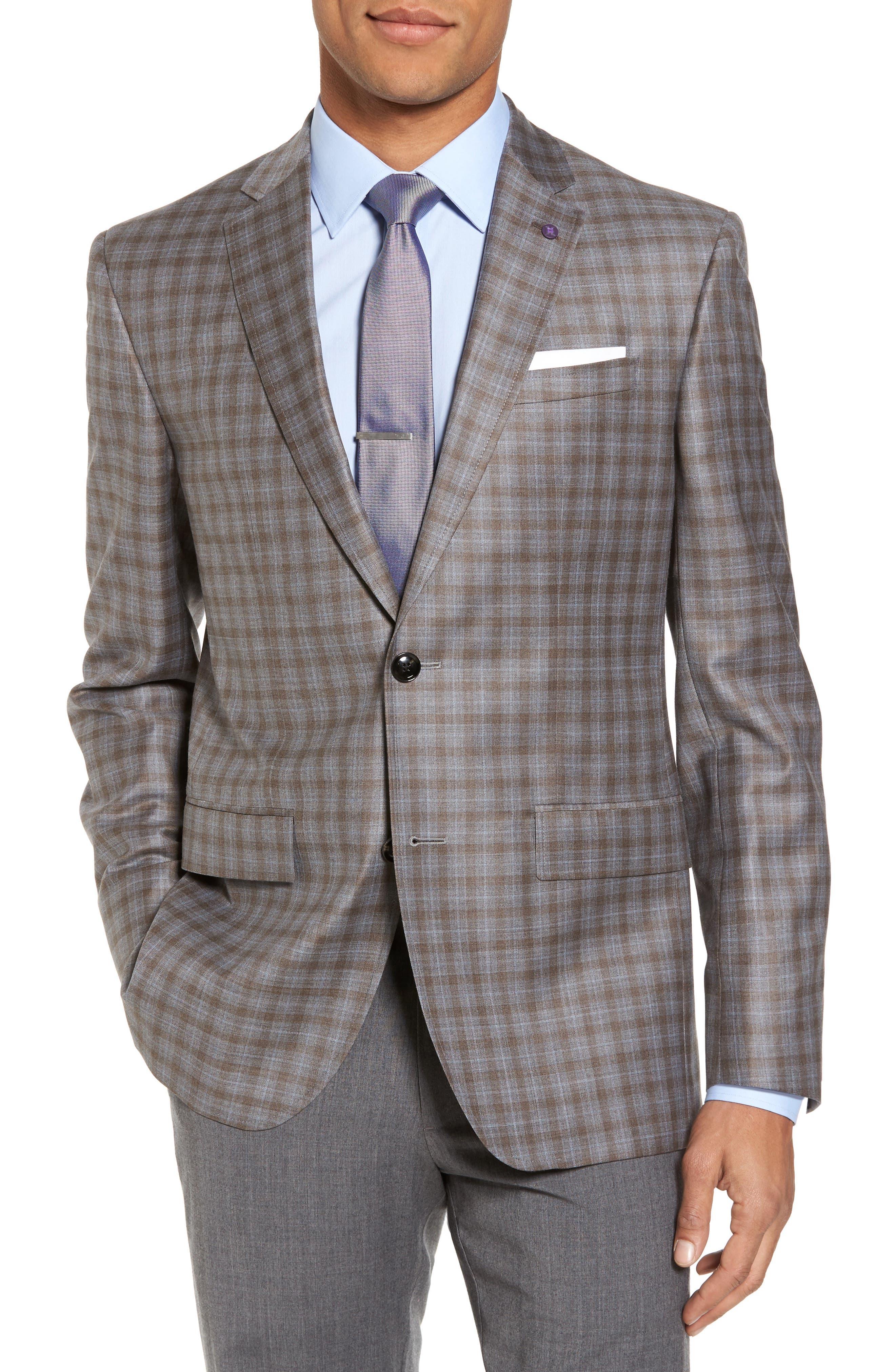Main Image - Ted Baker London Jay Trim Fit Plaid Wool Sport Coat